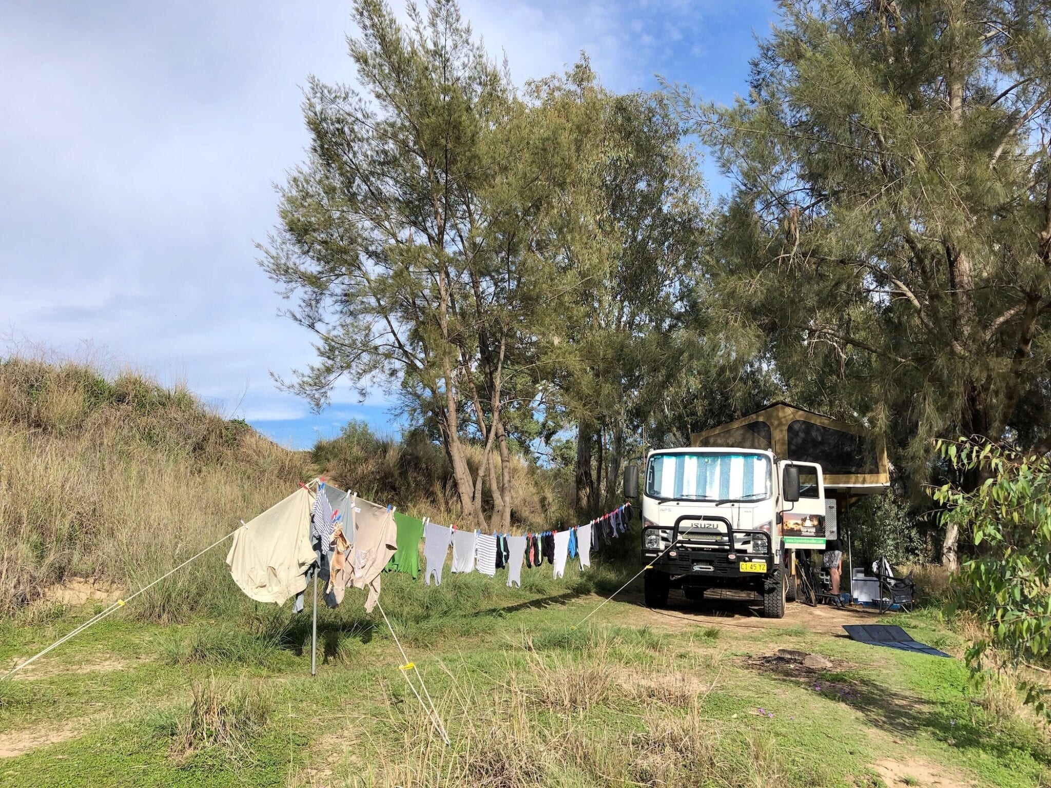 Washing day in the bush. Using our REDARC 12V inverter to power our portable twin tub washing machine.