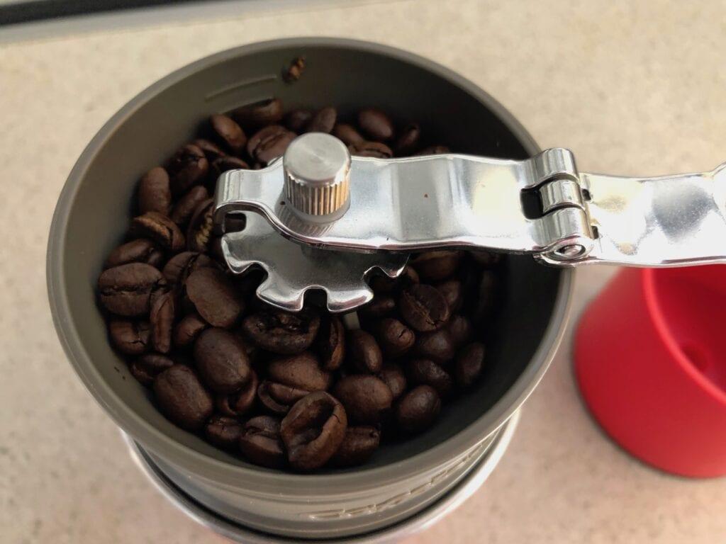 The Cafflano Klassic camping coffee maker. The grinder's easily adjustable for a finer or coarser grind.