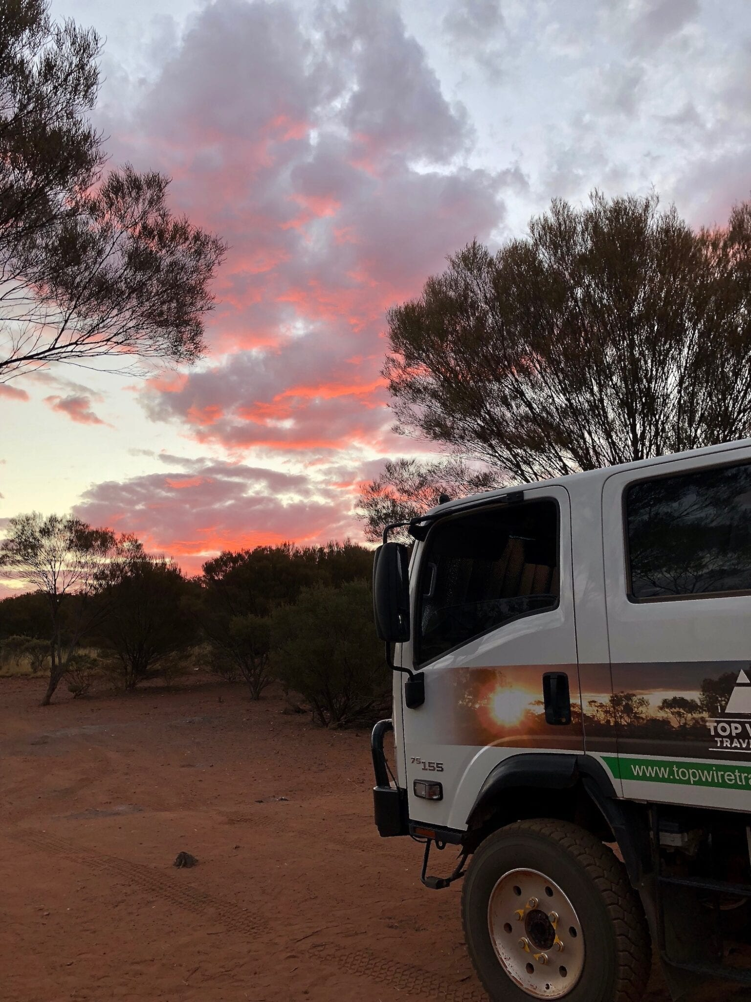 Sunset at Yarla-Kutjarra campground. Great Central Road Camping.