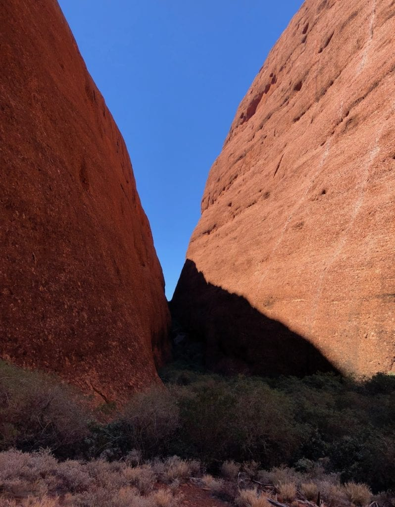 The view from the platform into the throat of Walpa Gorge, Kata Tjuta.
