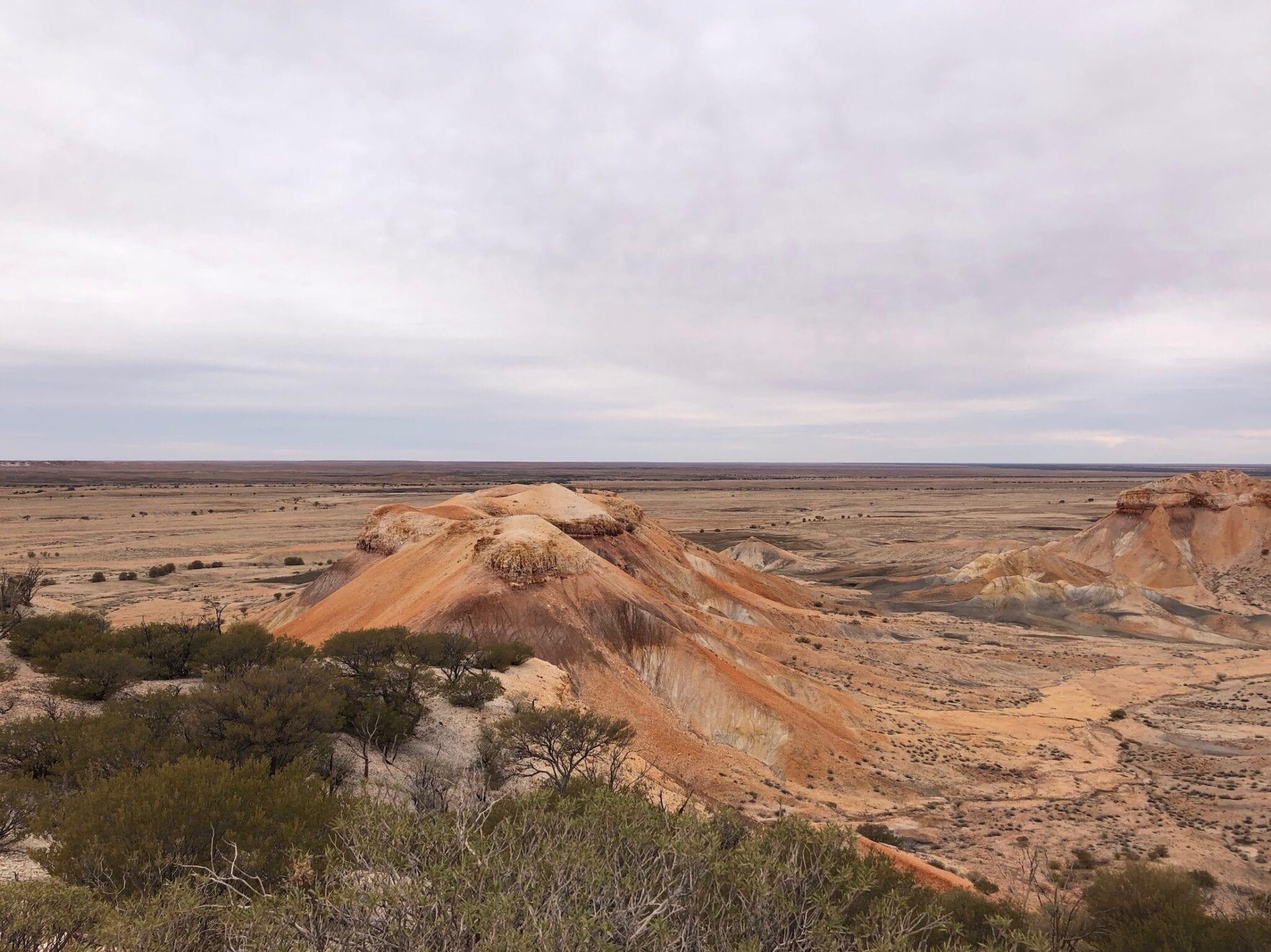 Looking down a ridge at the Painted Desert SA.