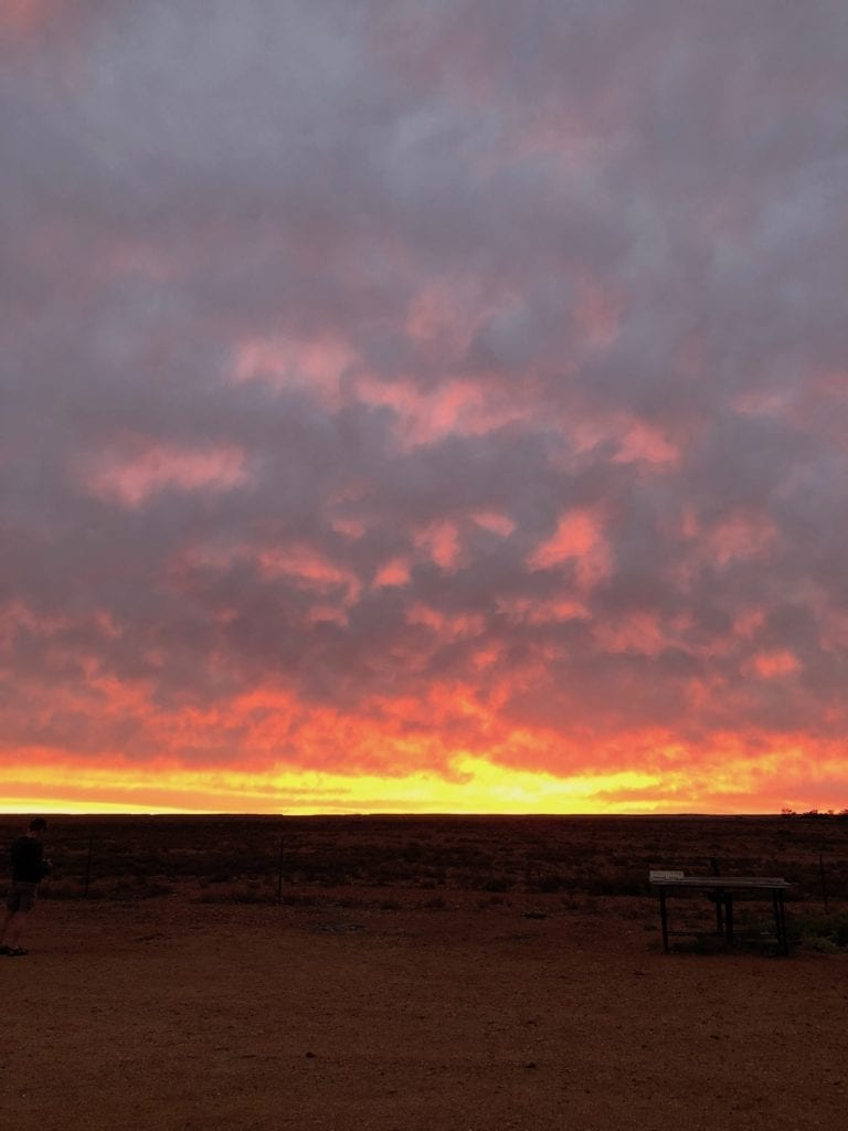 A beautiful sunset from Arckaringa campground, Painted Desert SA.