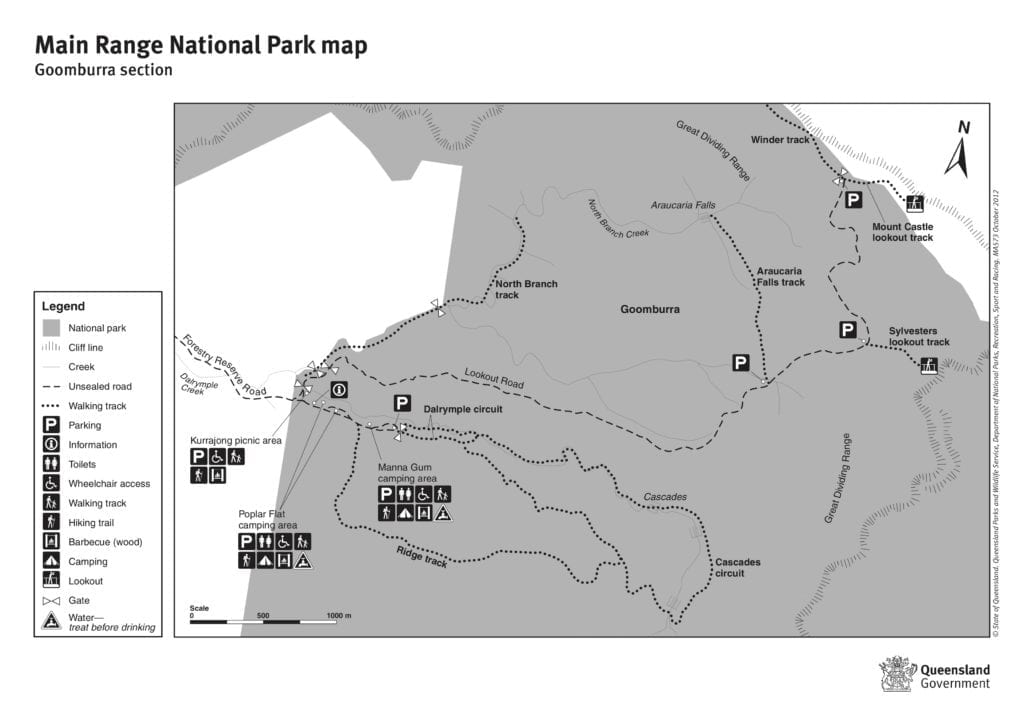 Map of the walks, Main Range National Park, including Cascades rainforest walk.