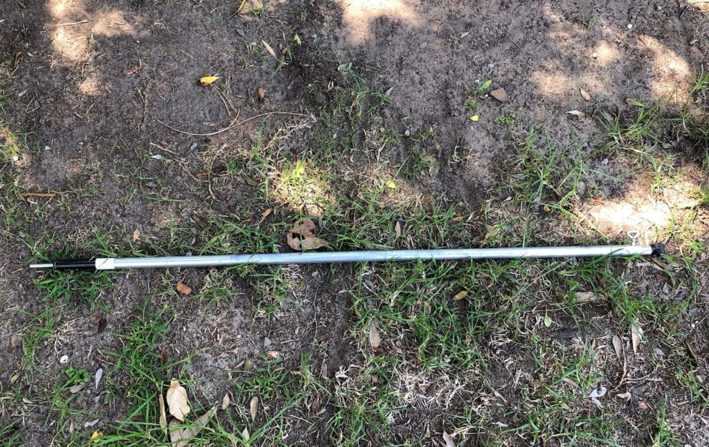 The brace pole is a slightly modified standard 2.13m long adjustable tent pole.