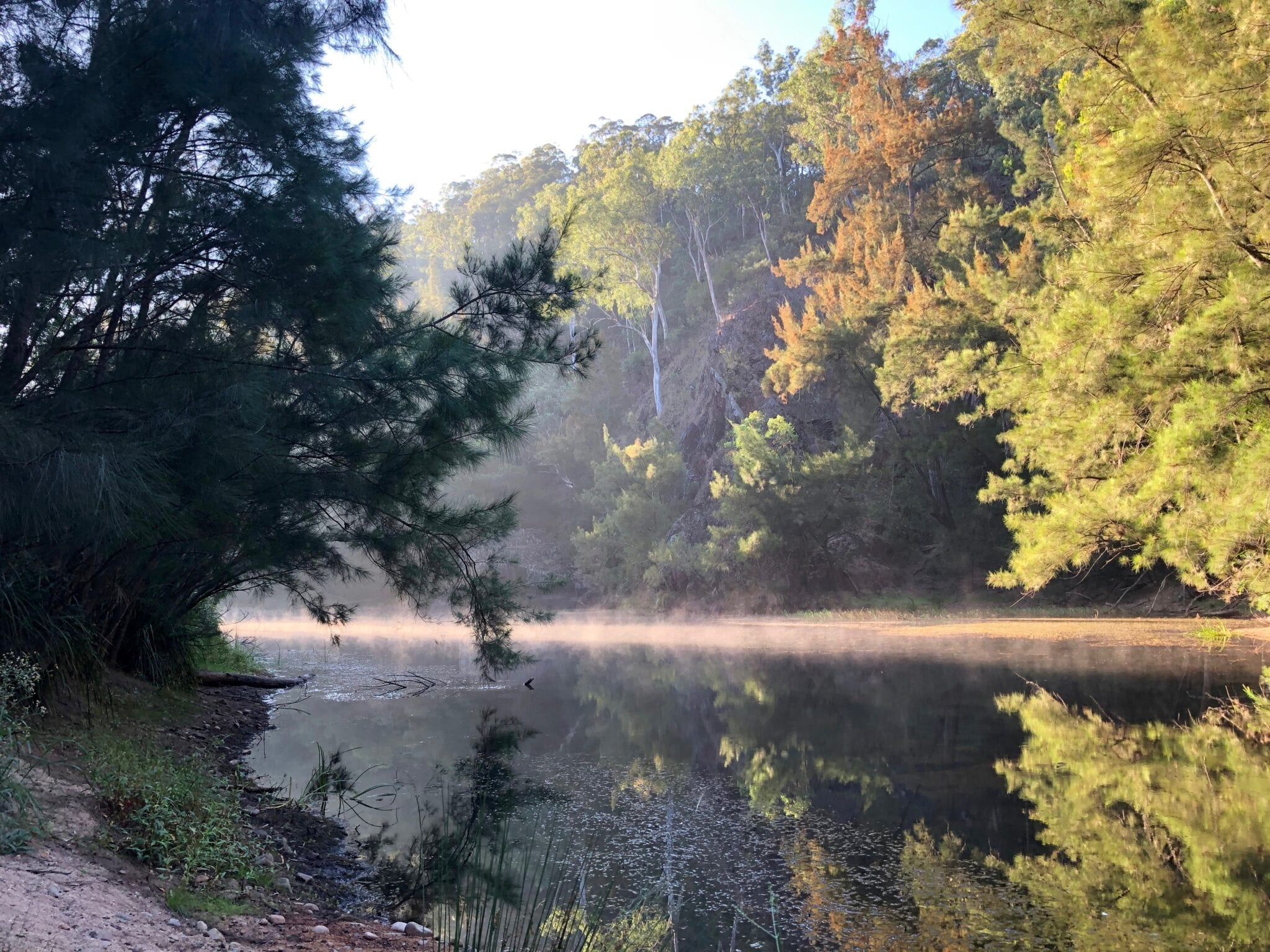Morning mist on Deua River, Dry Creek Camping Area. Bush camping near Canberra.