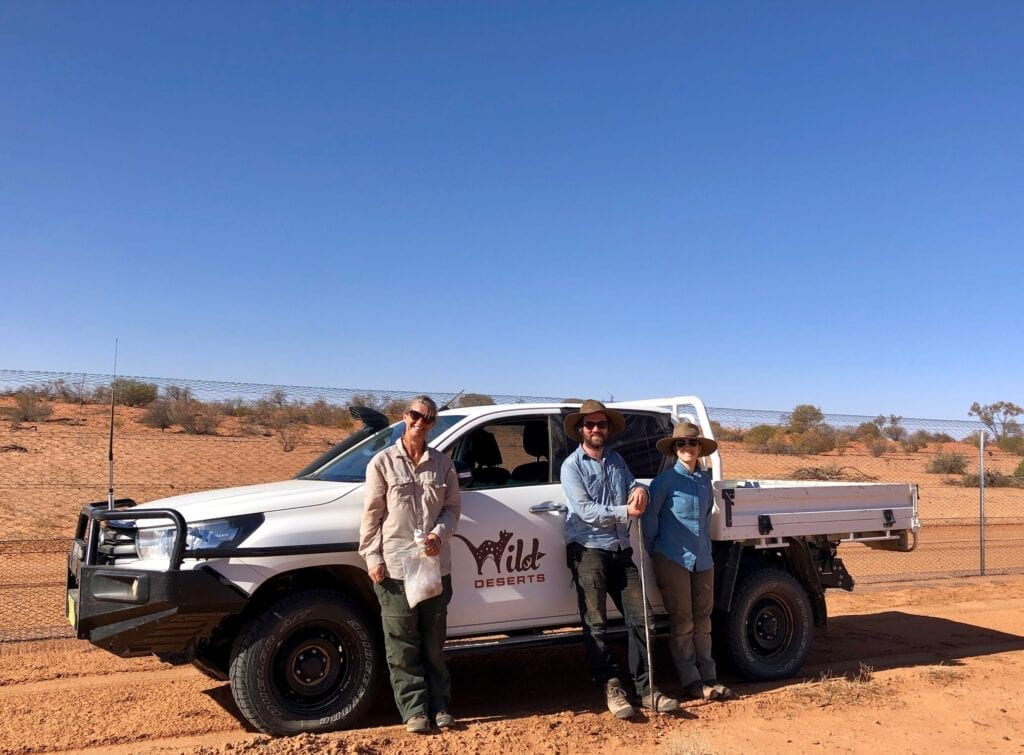 Peta, Tom H. and Lucy in the field at Wild Deserts. Australian marsupials.