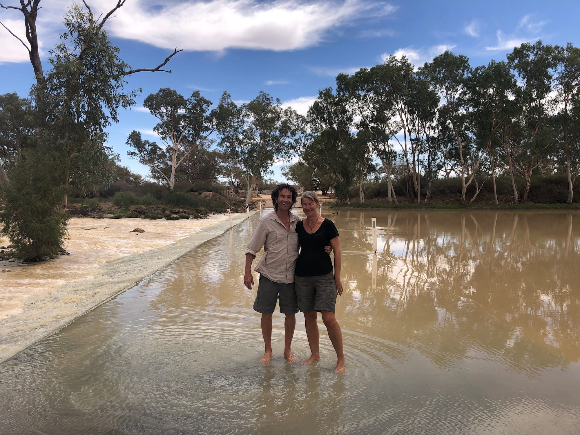 Standing on the causeway at Innamincka in the Cooper Creek floodwaters, April 2019.