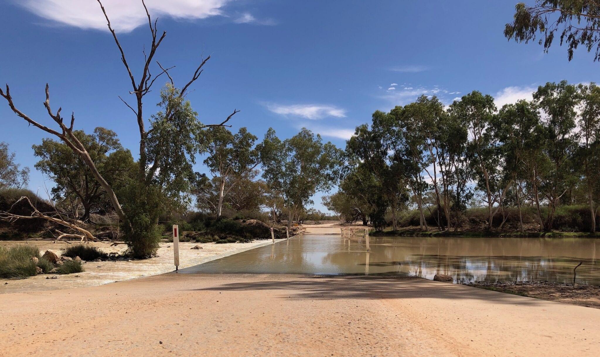 Cooper Creek flood 2019, flowing over Innamincka Causeway.