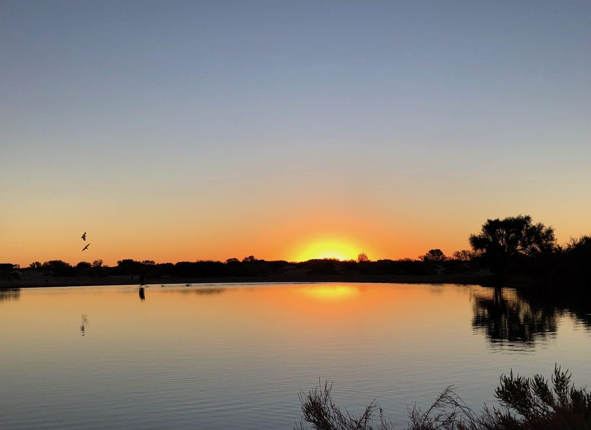 The sun setting over Montecollina Bore.