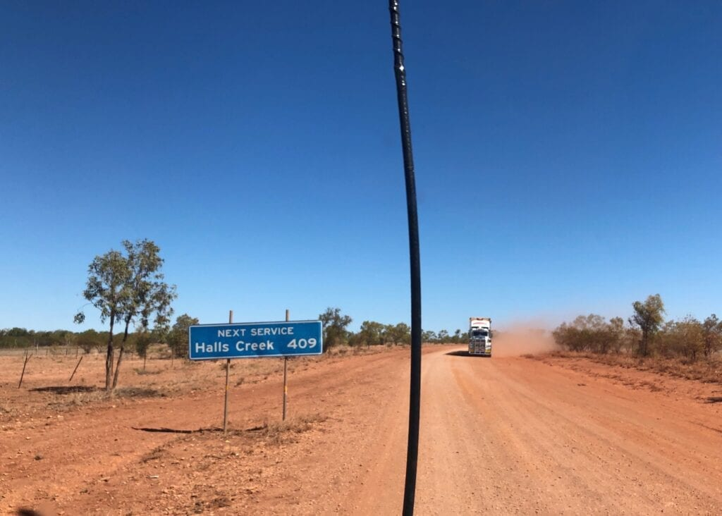 The UHF whipping from side to side on the corrugations just west of Kalkarindji, NT.