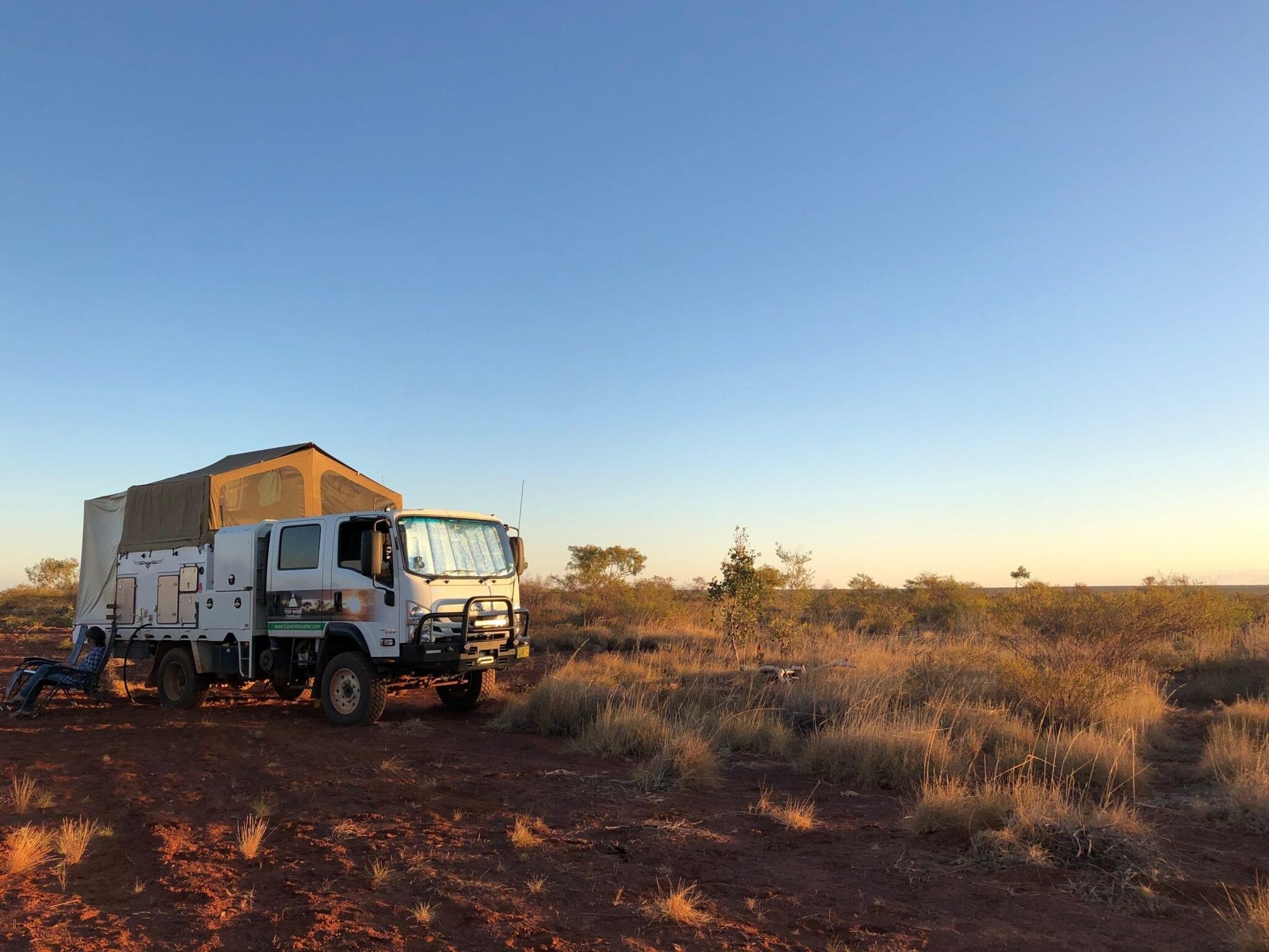 Camped in the Tanami Desert beside Lajamanu Road.