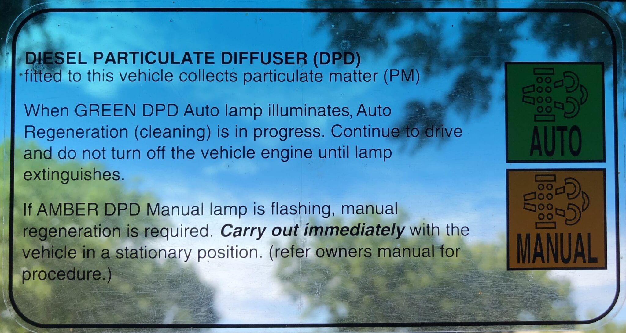 The instructions for the diesel particulate filter (diffuser) or DPD on a 2016 Isuzu NPS.
