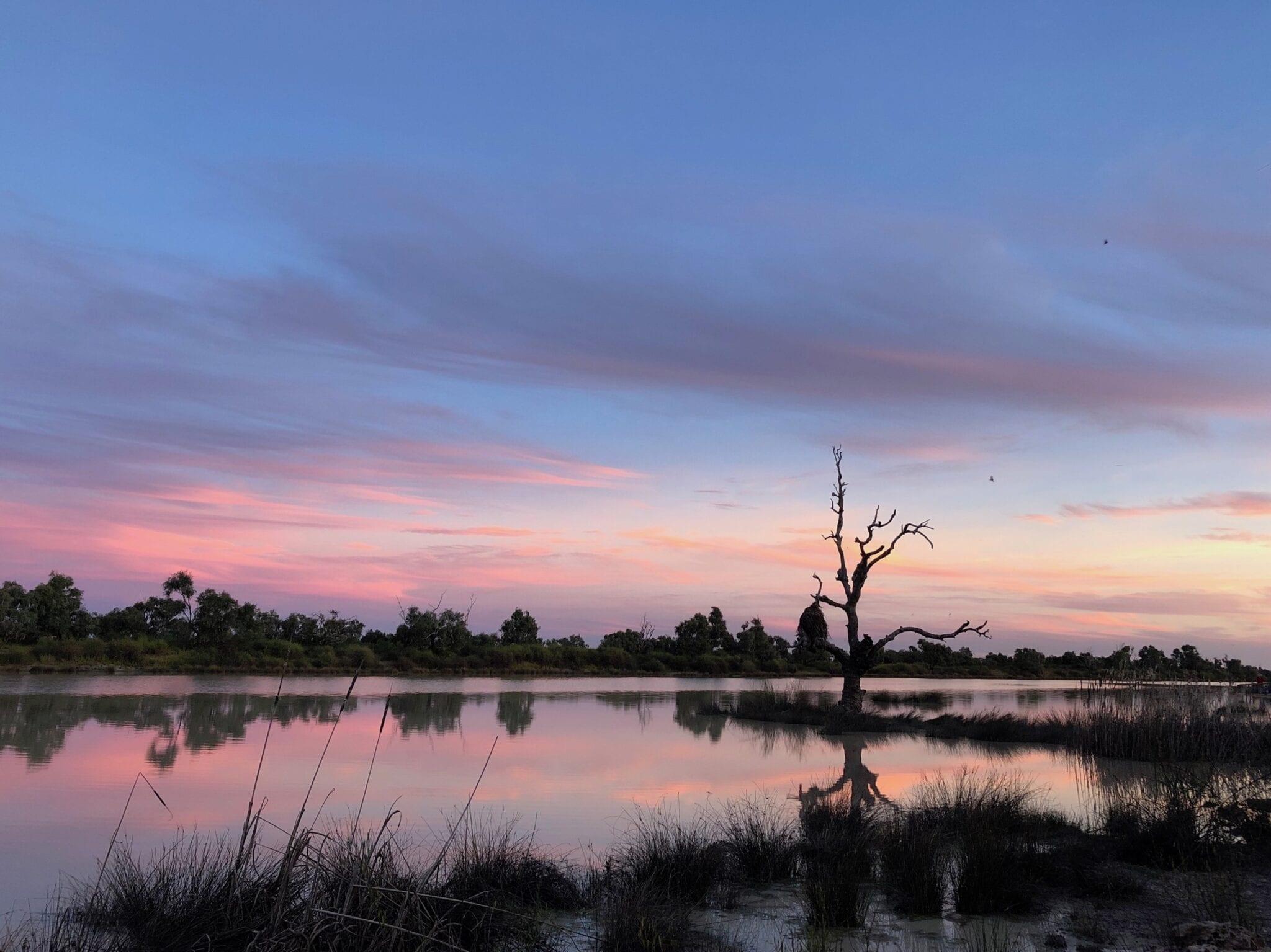 Sunrise on Birdsville Lagoon, Birdsville QLD.