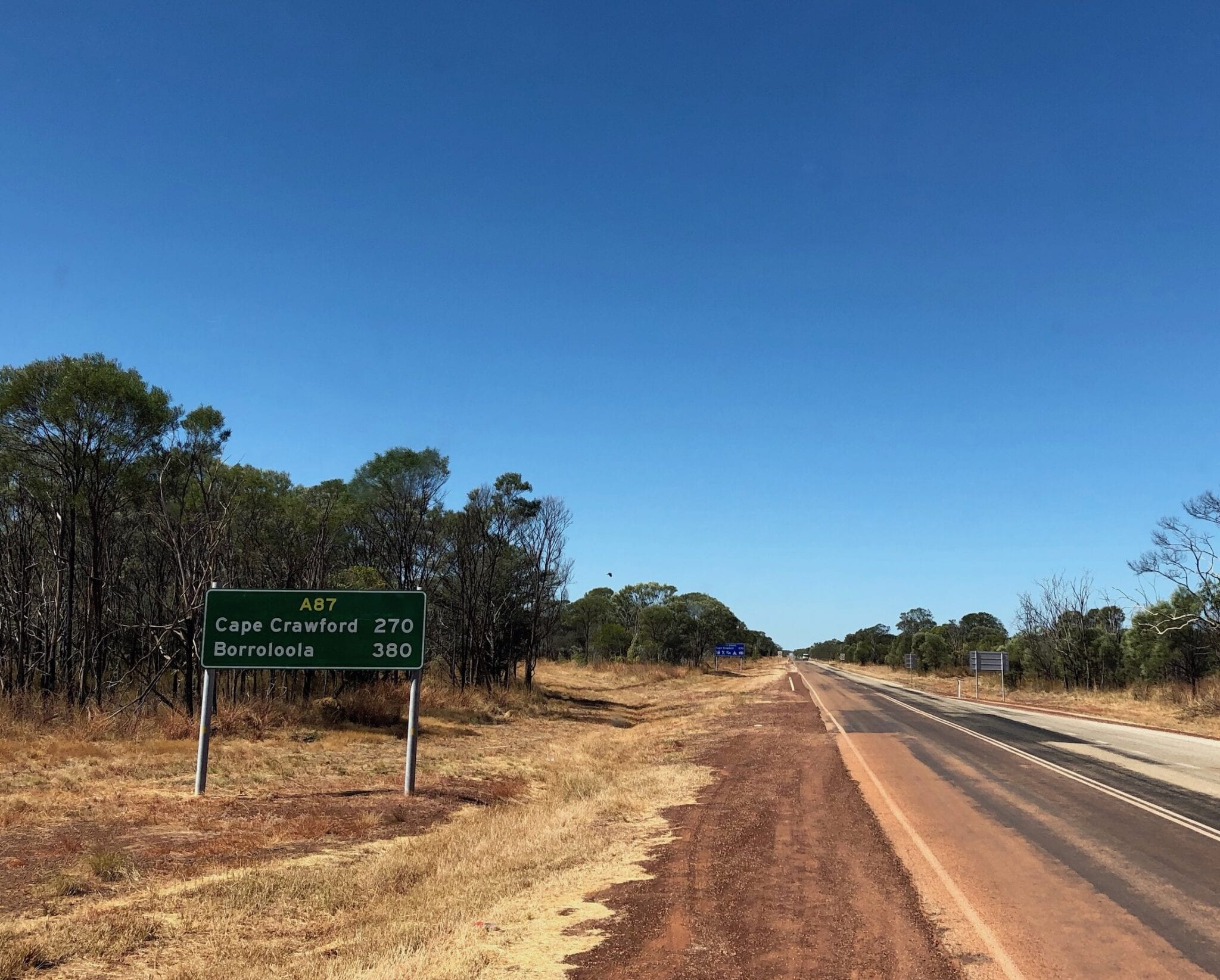 Turning onto the Carpentaria Highway at Daly Waters NT.