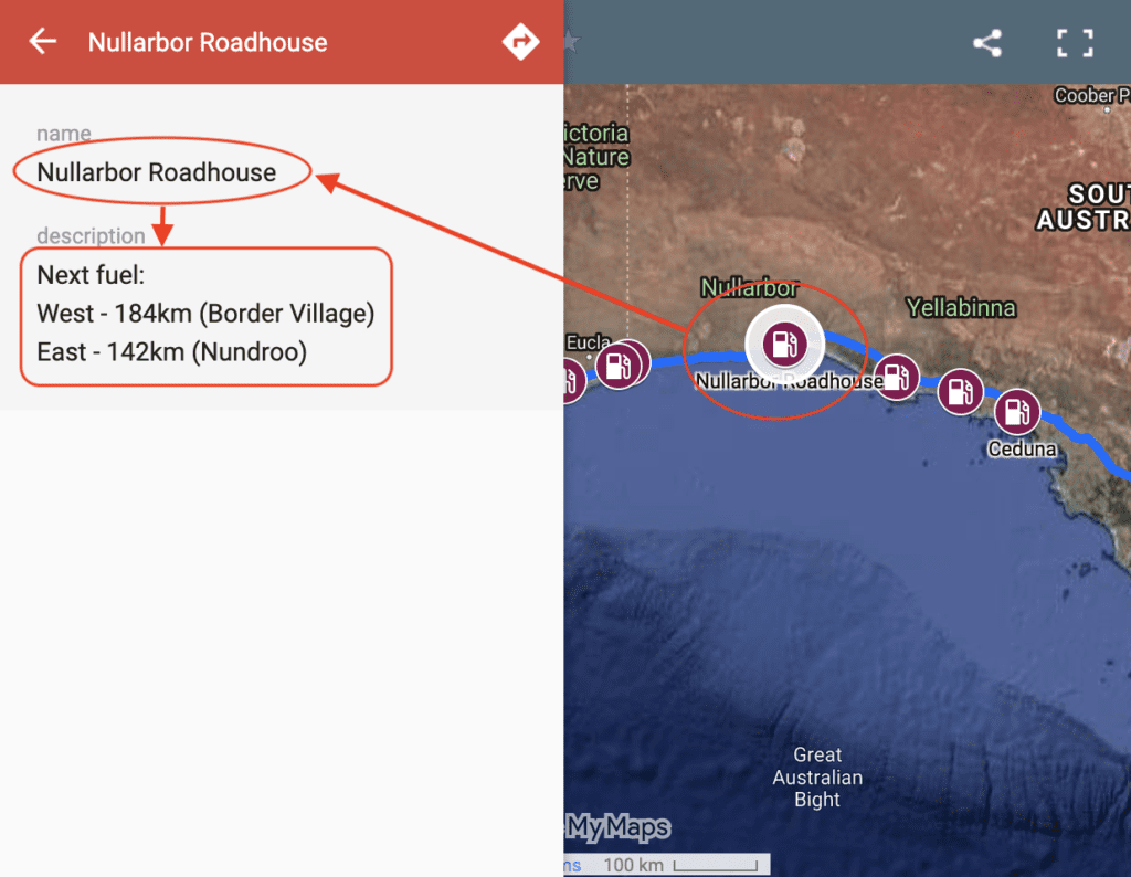 Screenshot showing how to use our interactive map of fuel stops across the Nullarbor.