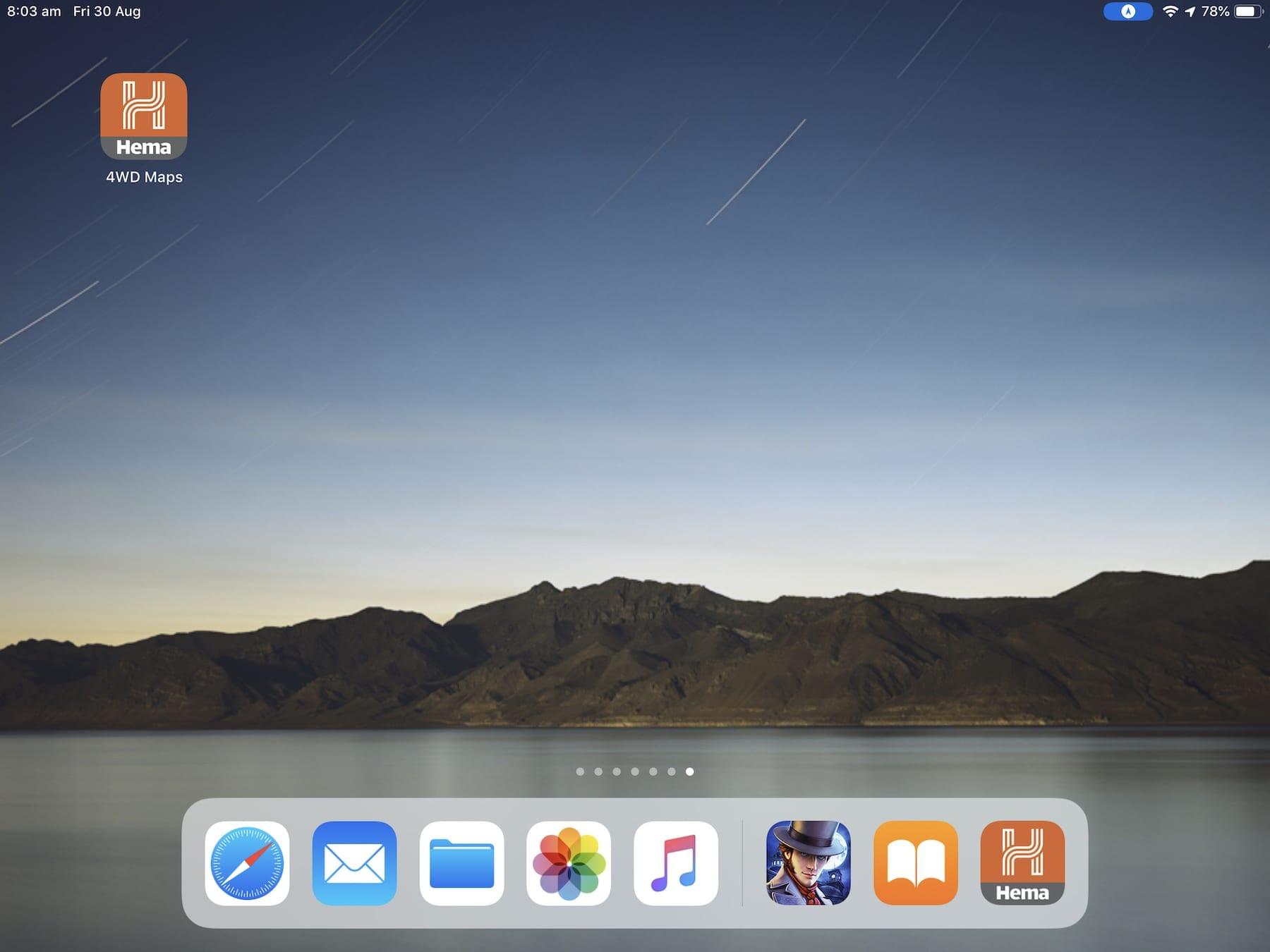 The Hema 4WD Maps app on an iPad.