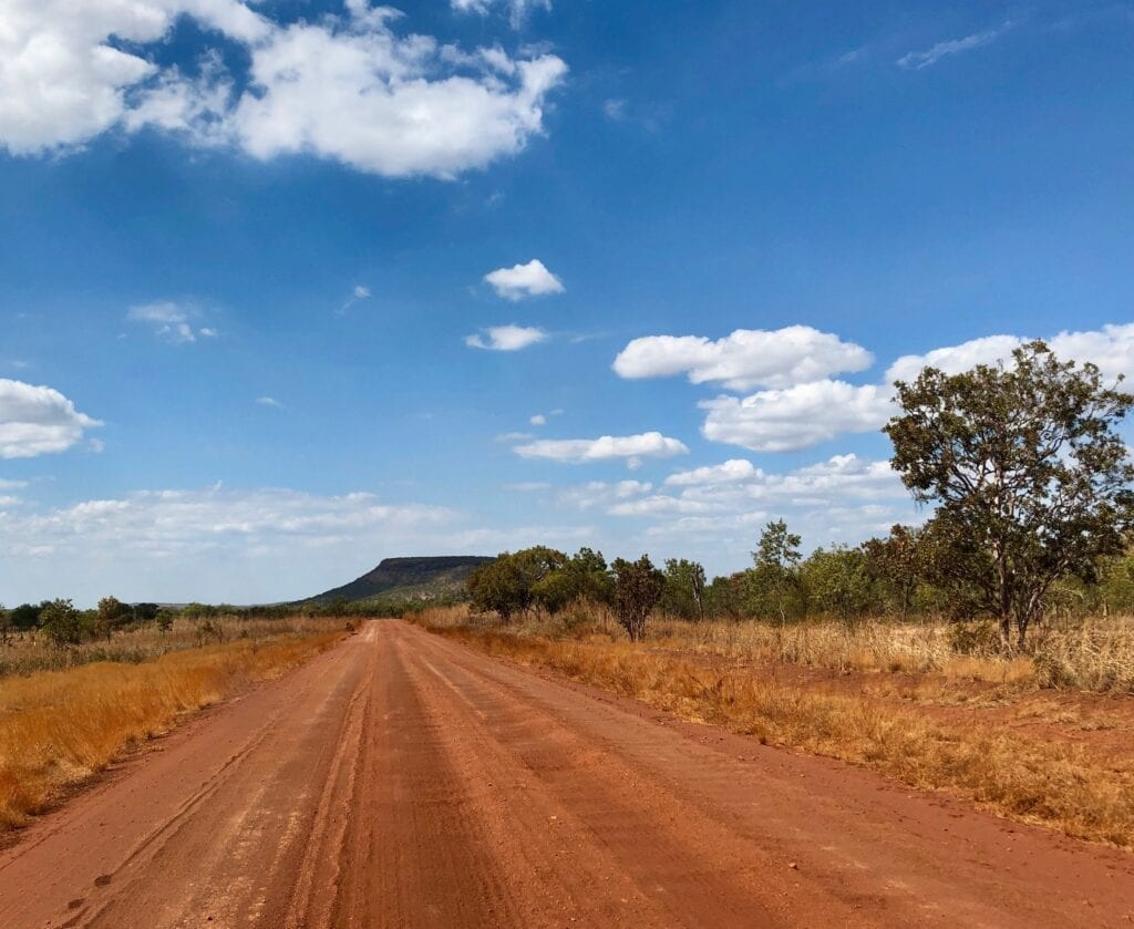 The Roper Highway turns to dirt west of Roper Bar.