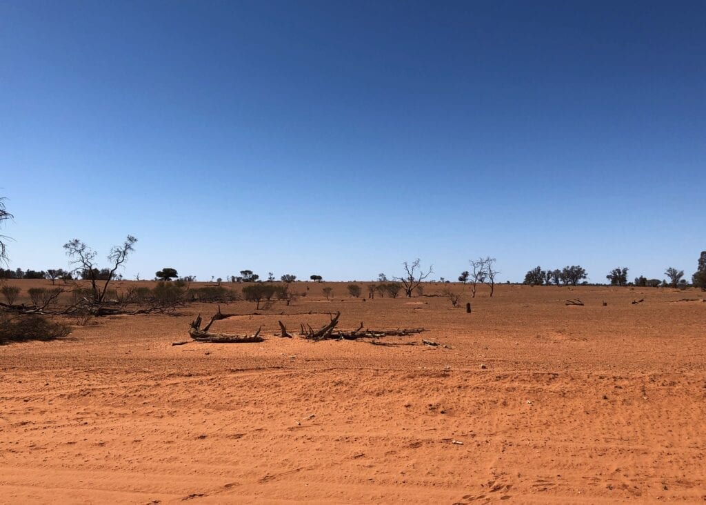 Drought-stricken land on the western side of the lower Darling River.