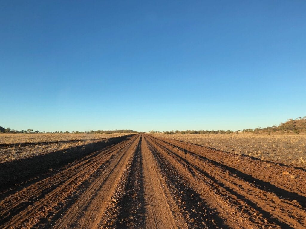A typical outback dirt road. Loose stones and corrugations.
