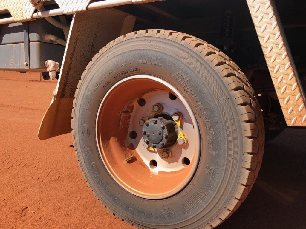 We always reduce tyre pressures on our truck when we're on dirt roads.