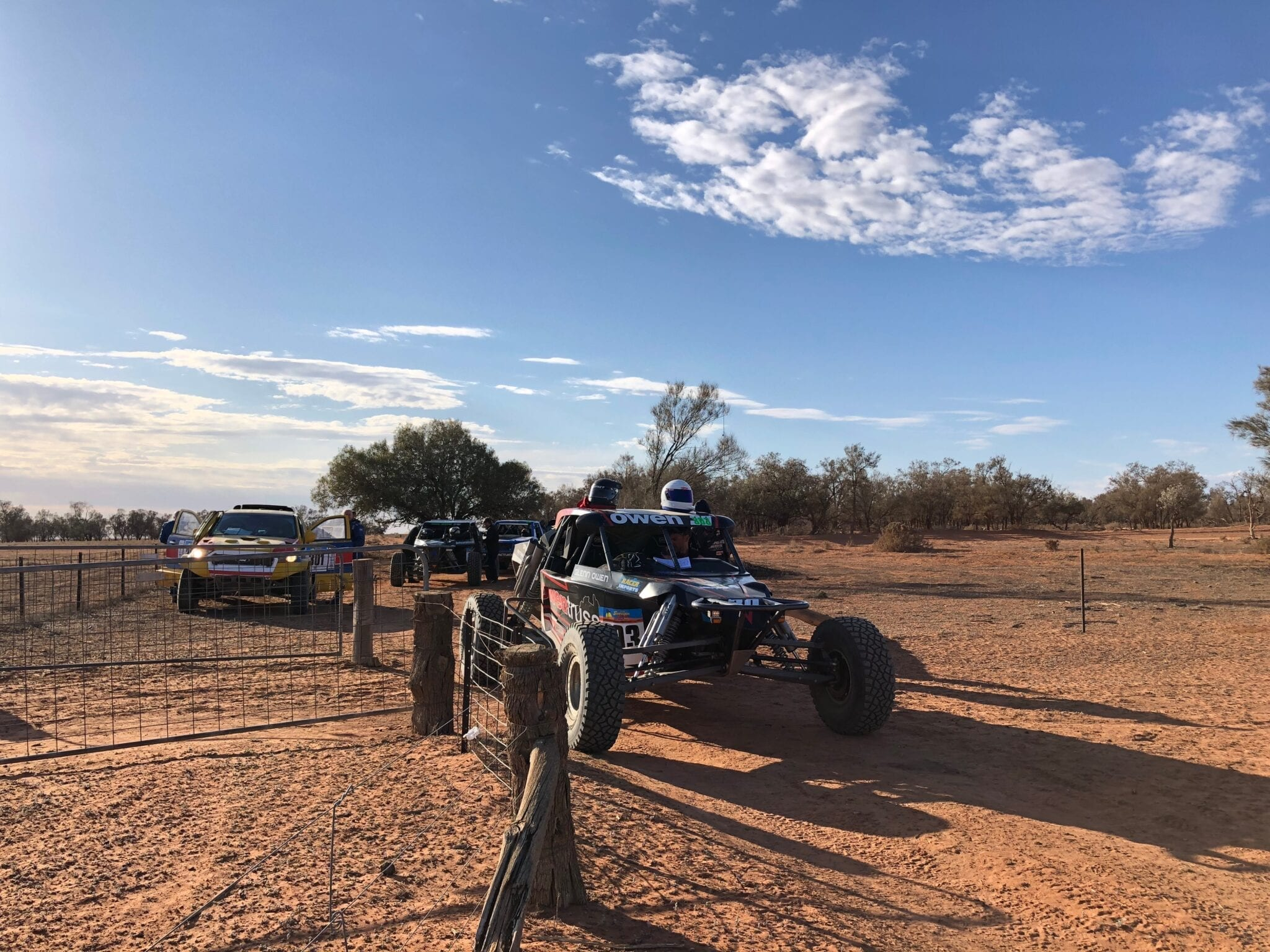 Cars waiting to start on a stage during the Sunraysia Safari.