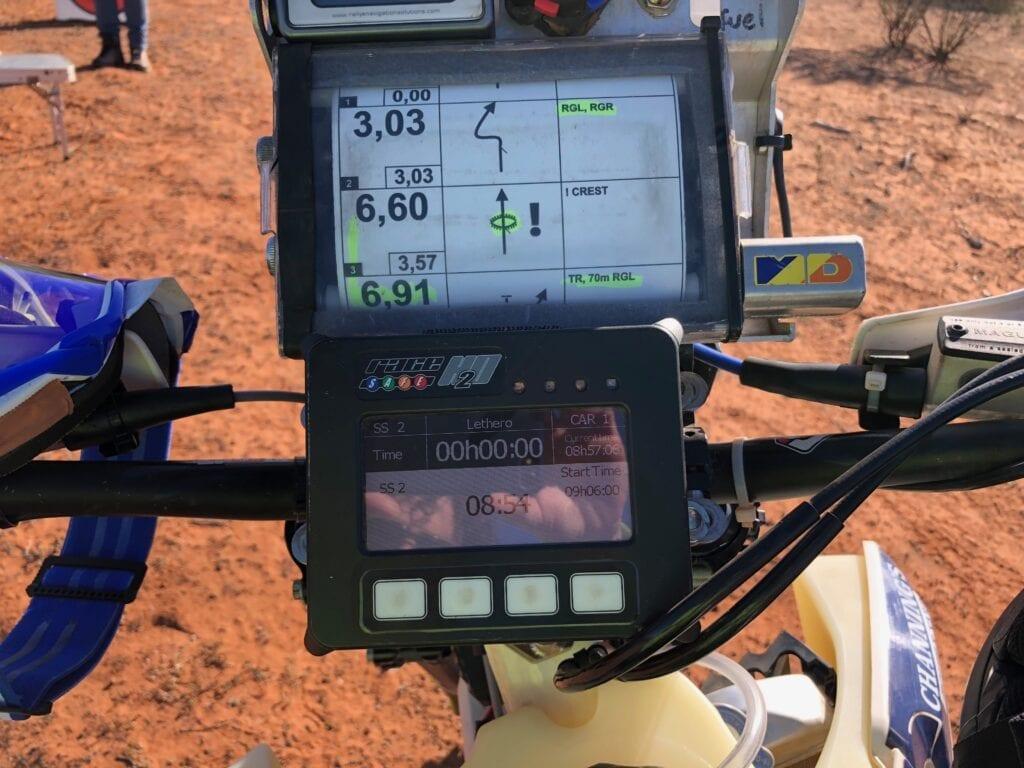 A typical bike rider's navigation scroll and RallySafe device below. Sunraysia Safari.