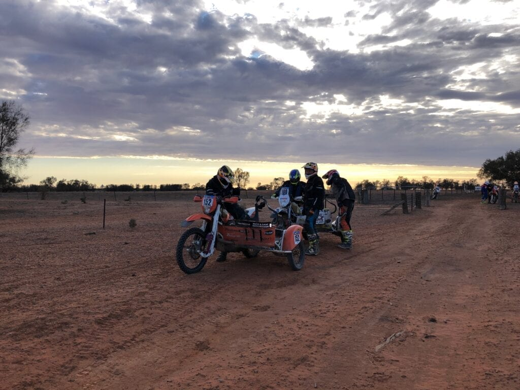 Even a couple of sidecars raced in the Sunraysia Safari.