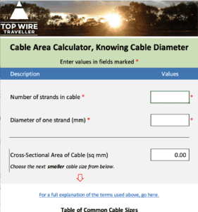 A useful Cable Area Calculator for your next automotive wiring project.