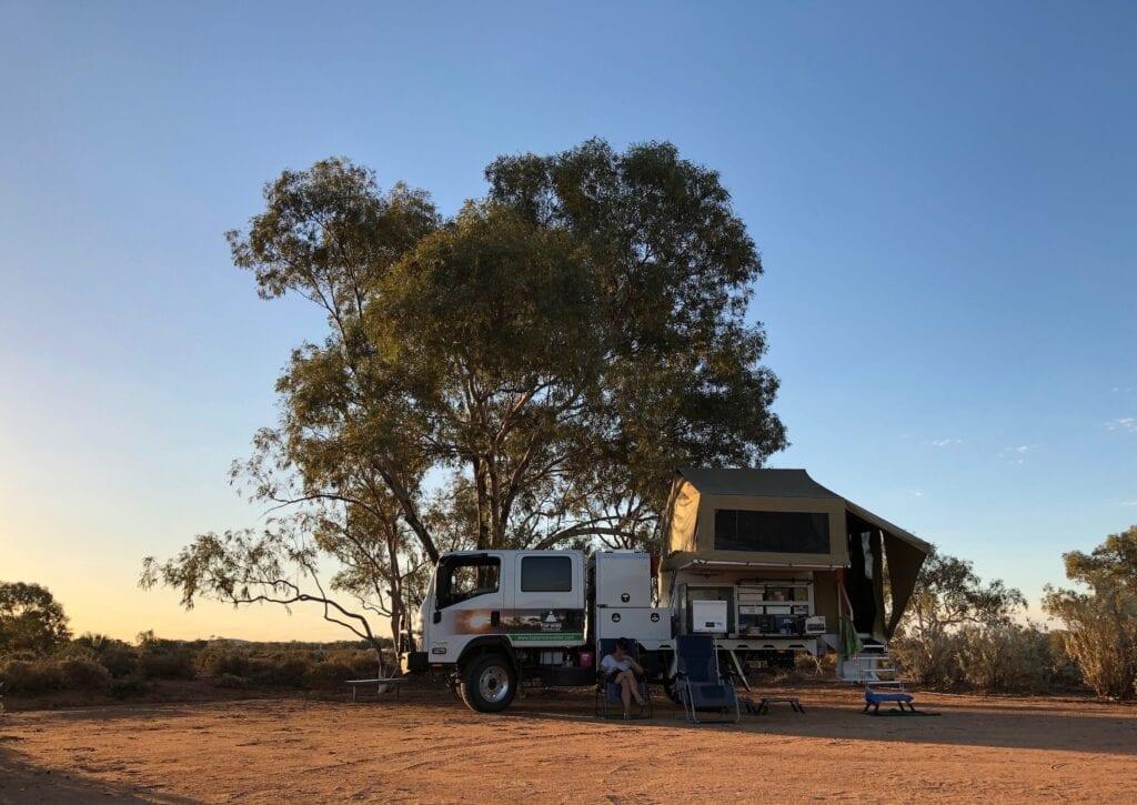 Camped at the Tibooburra Historic Aboriginal Reserve on the eastern edge of Tibooburra NSW.