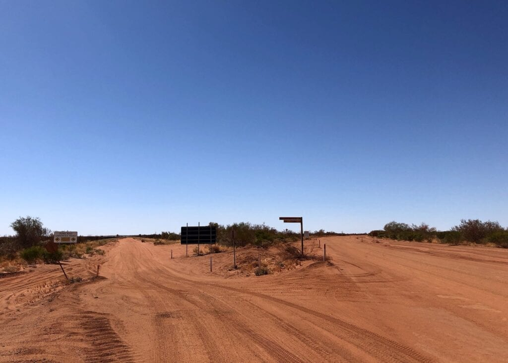 Telfer Mine Road on the right. Australia's outback.
