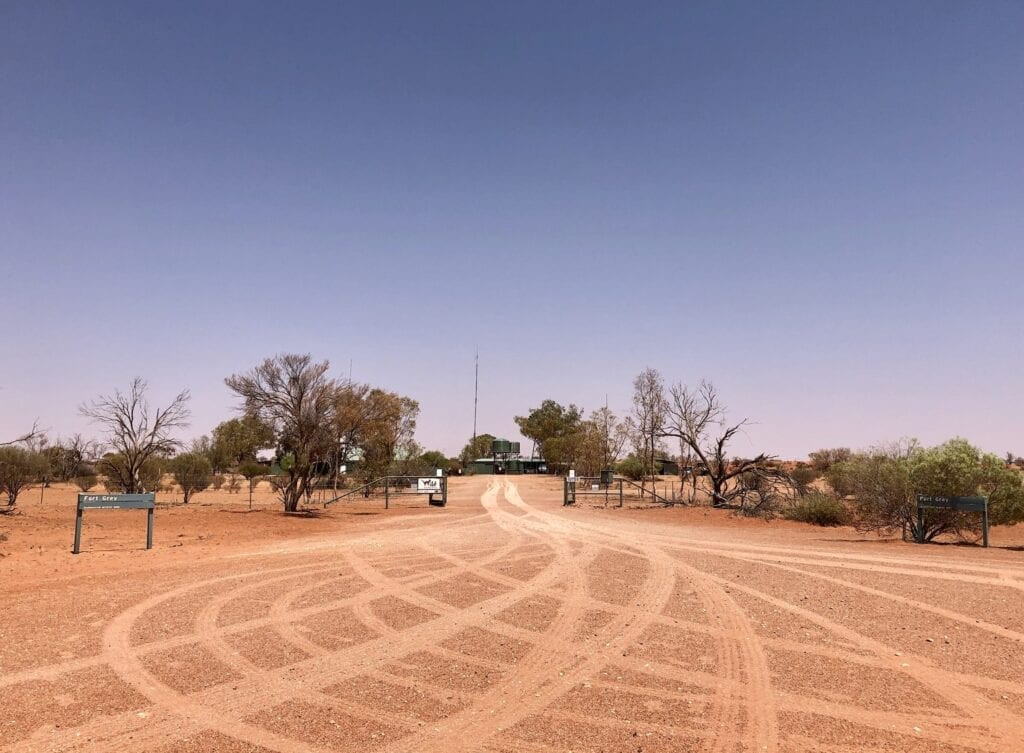 The entrance to Fort Grey Homestead on the Tibooburra - Cameron Corner Road, NSW. Sturt National Park, Australia's outback.