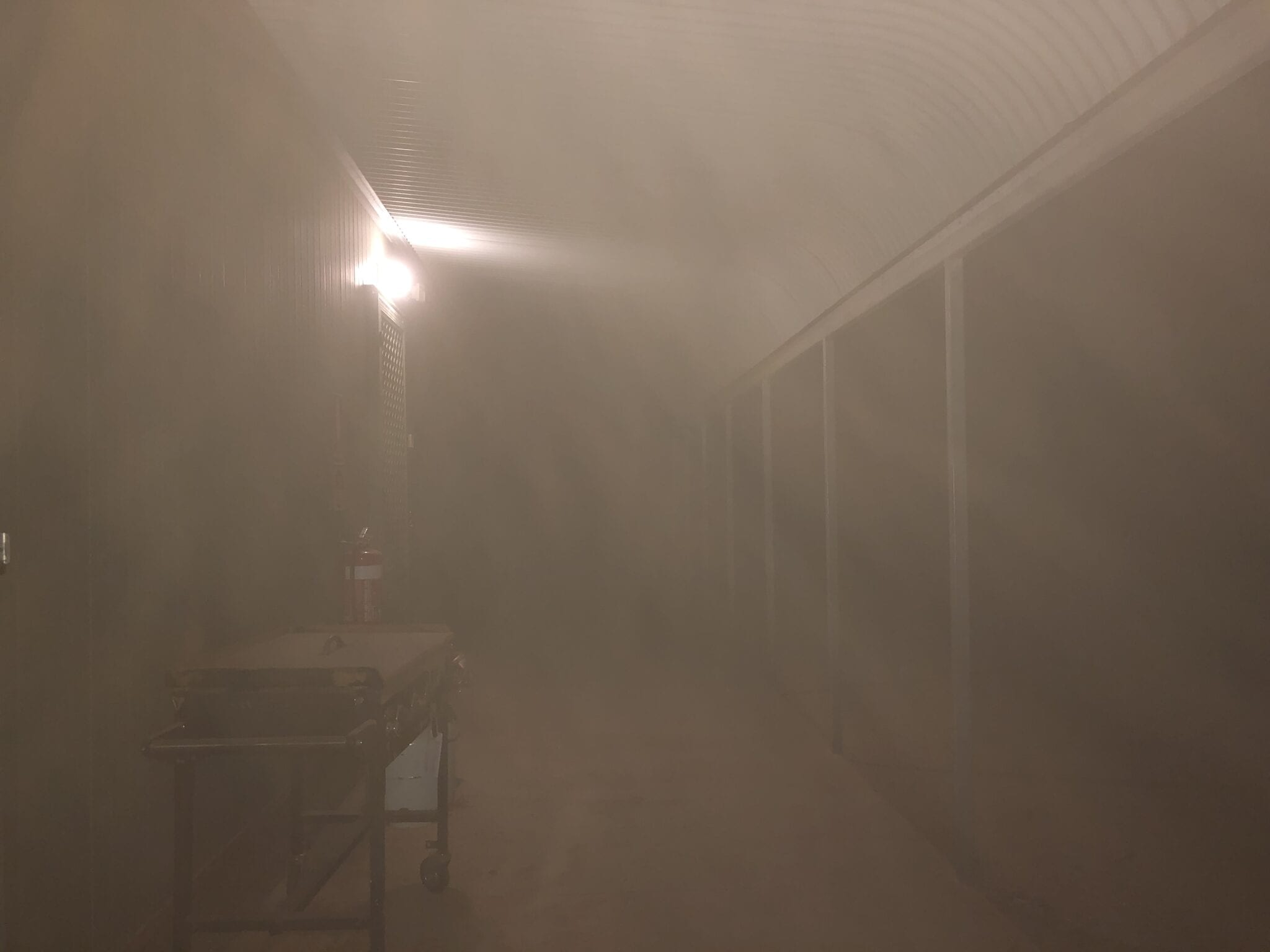 Thick choking dust outside out hut during the large dust storm at Fort Grey, Sturt National Park NSW.
