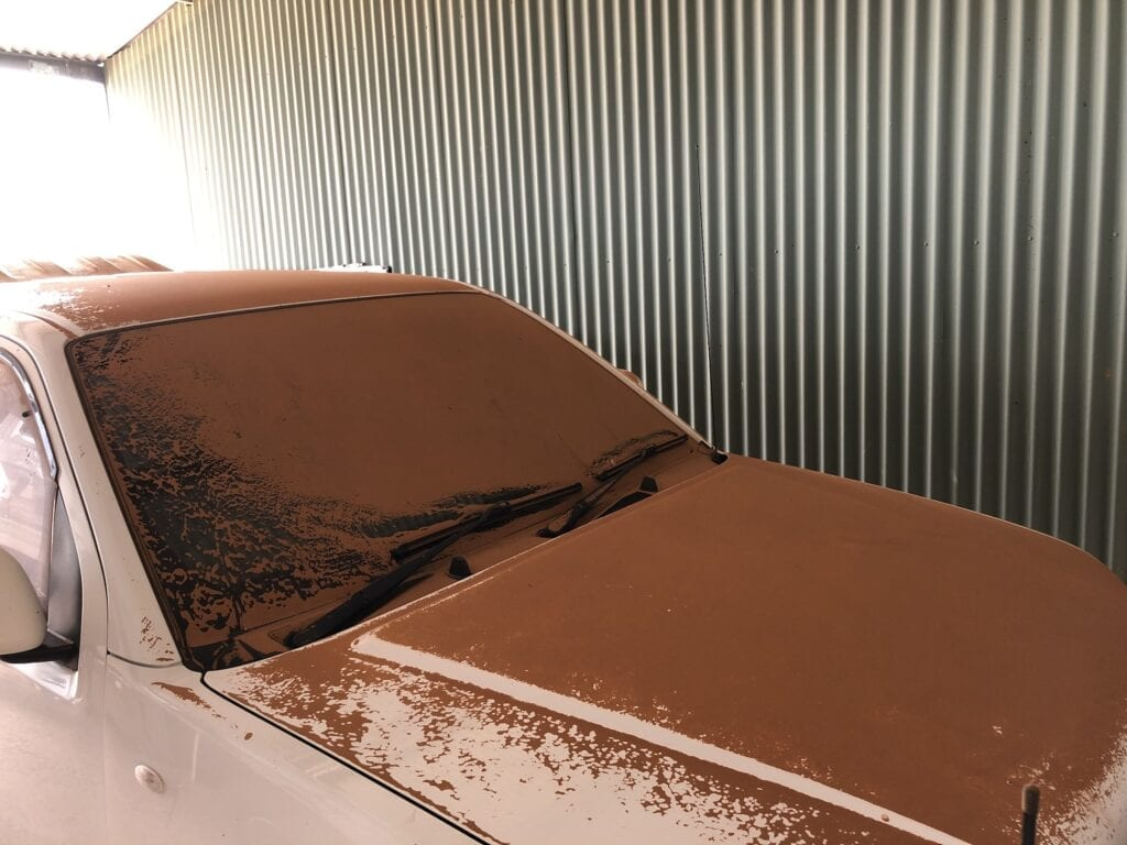 Even vehicles under cover didn't escape a thick coating of sand and dust from the dust storm. Fort Grey, Sturt National Park NSW,