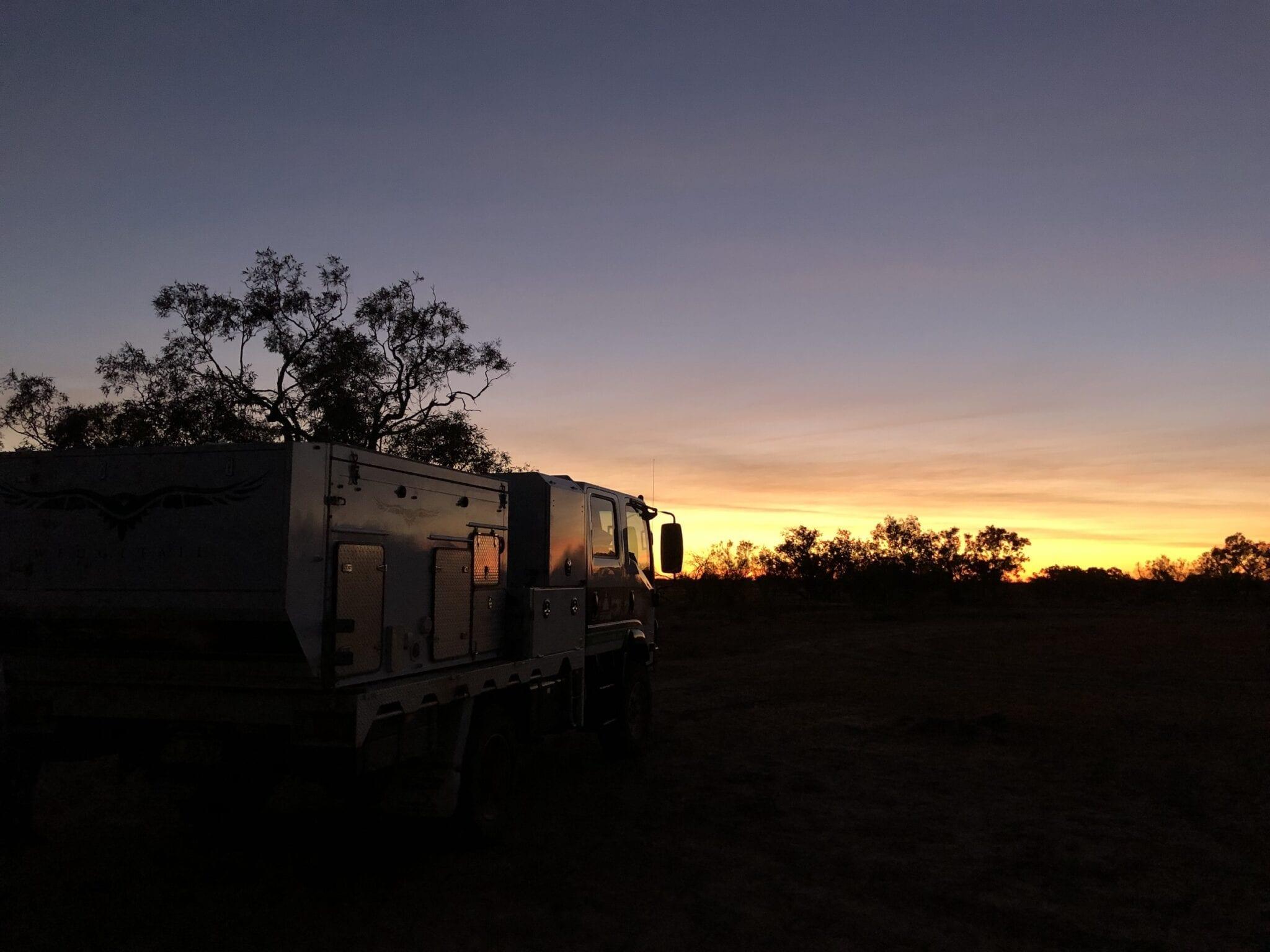 An inspiring sunrise in South_West Queensland. Long-term travel.