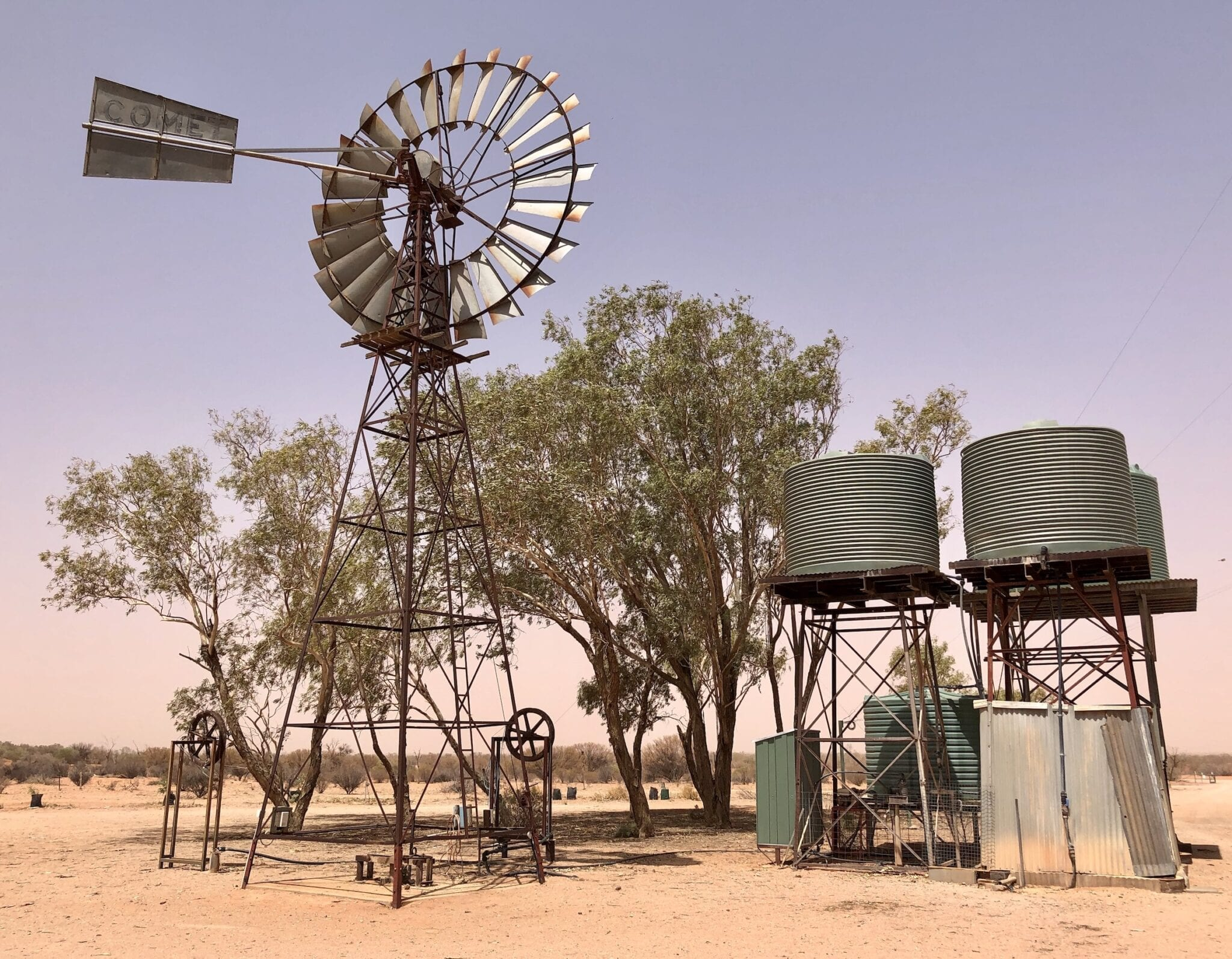 Water tanks and old windmill at Fort Grey Homestead, Sturt National Park NSW.