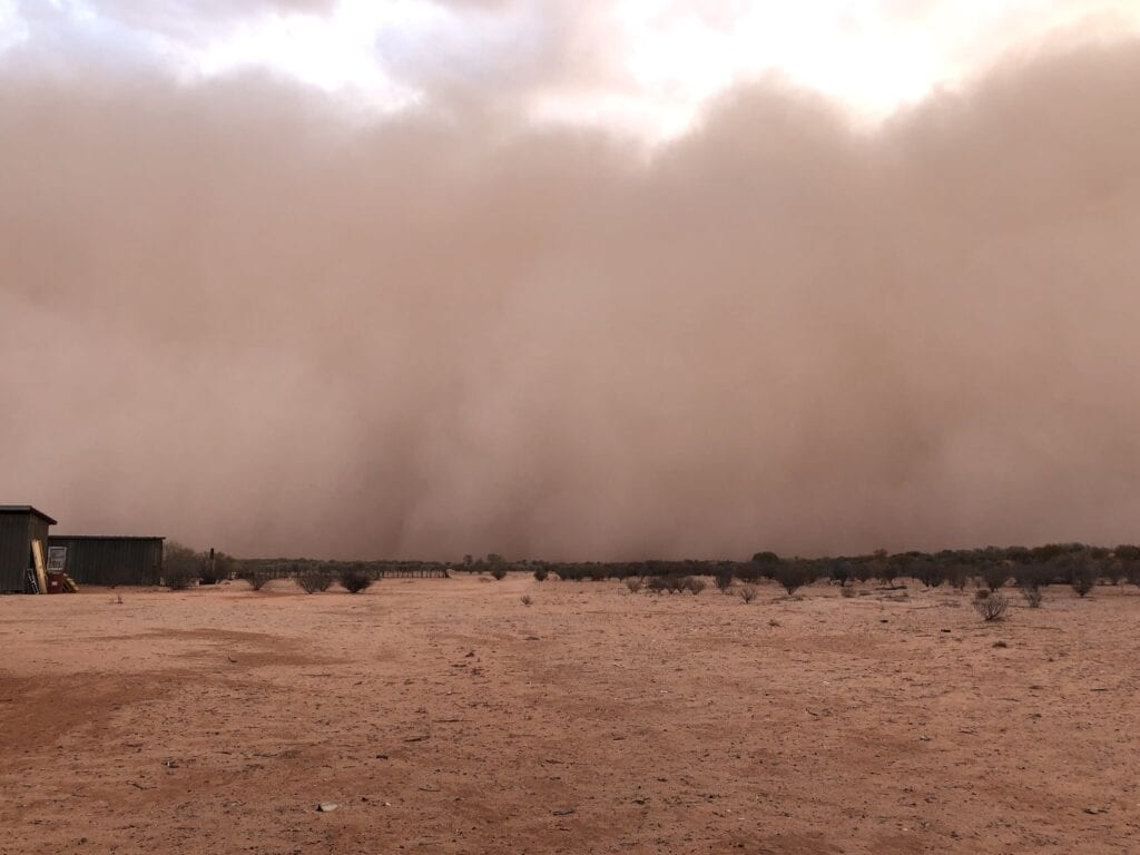 Large dust storm approaching Fort Grey Homestead from the south. Sturt National Park, NSW.