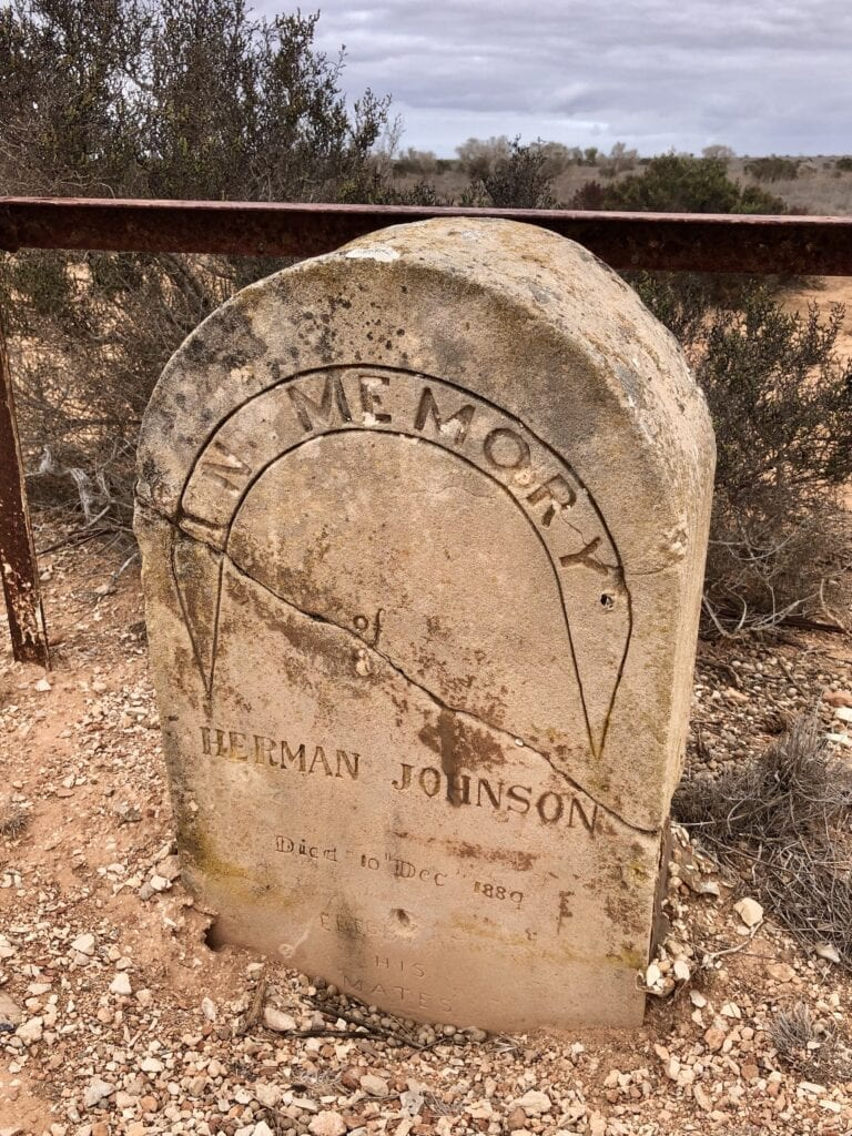 The grave of Herman Johnson beside the Old Eyre Highway, Nullarbor Plain SA.