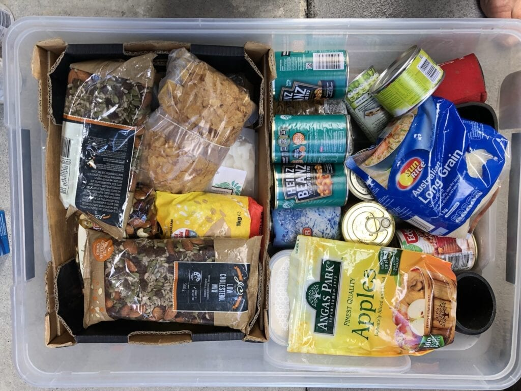 A tub of just-in-case survival supplies we carry when travelling remote.