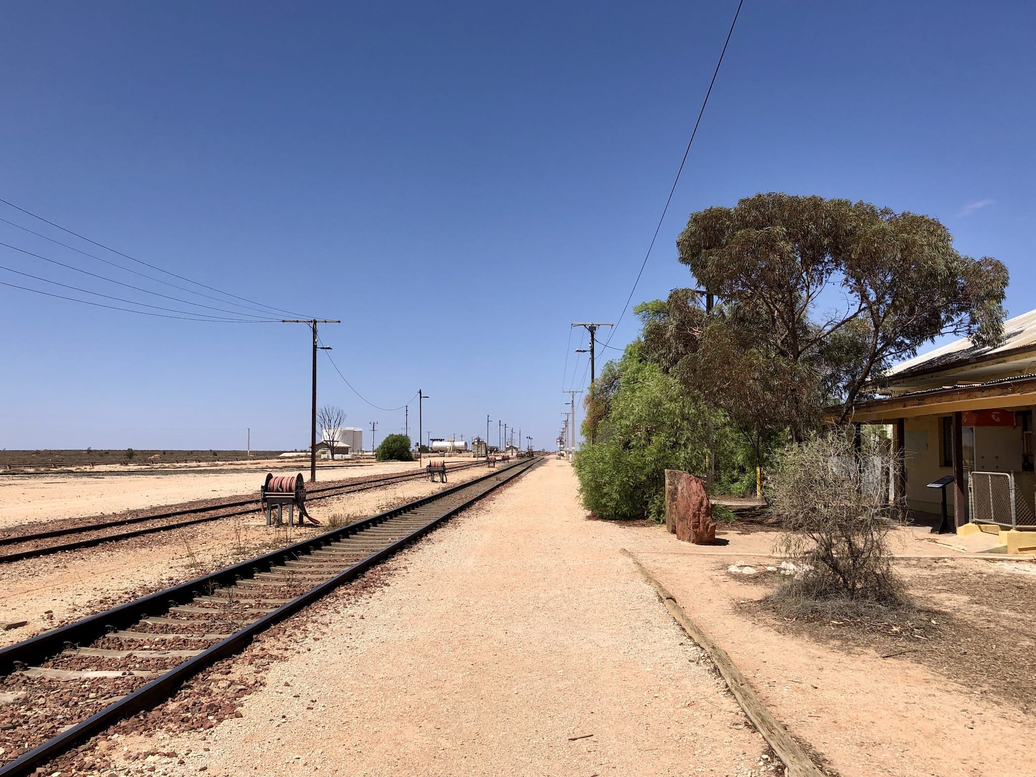 The Trans Australian Railway at Cook, on the longest stretch of rail in the world.