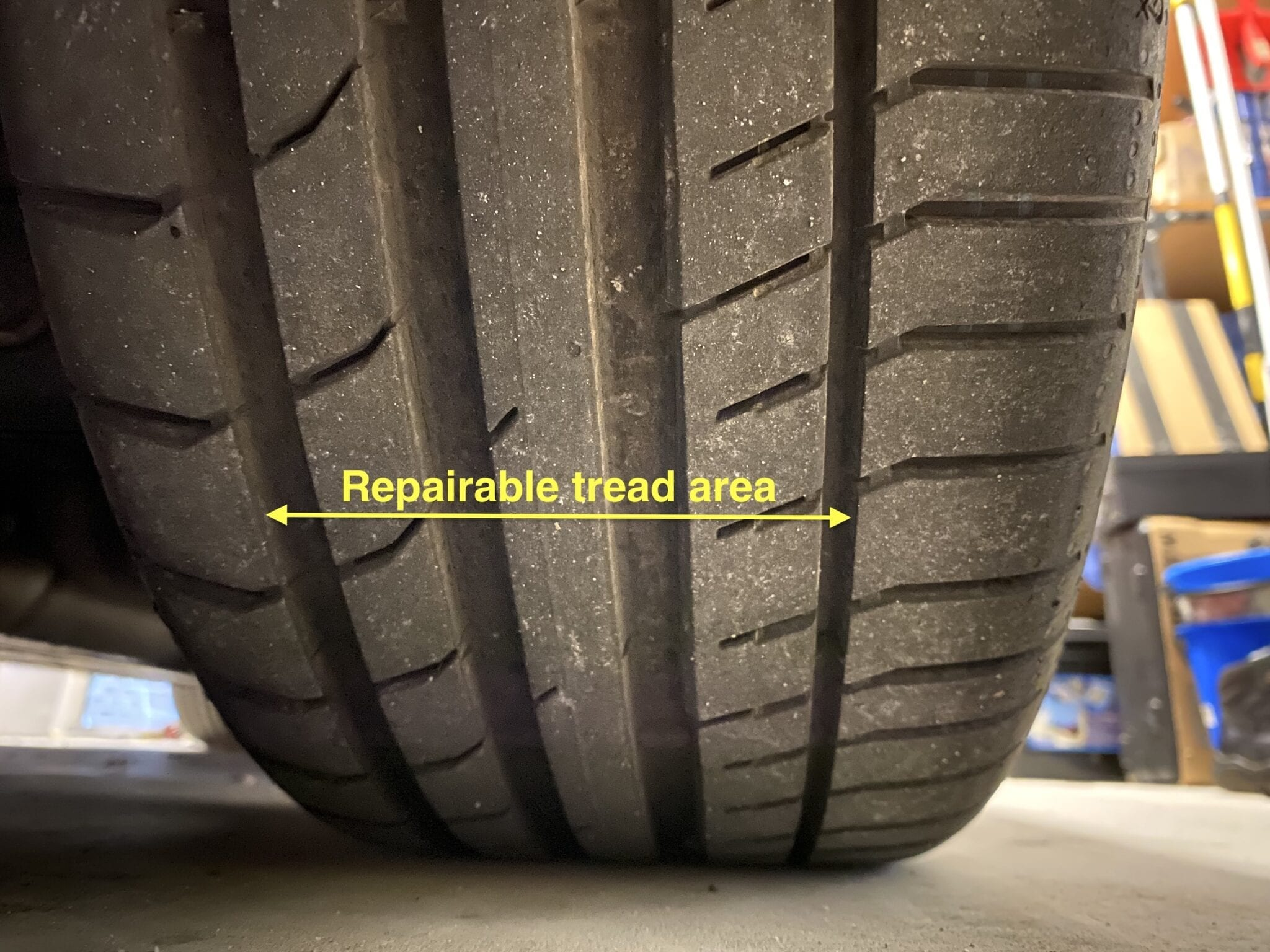 Are tyre plugs legal? The repairable tread area of a typical tyre.