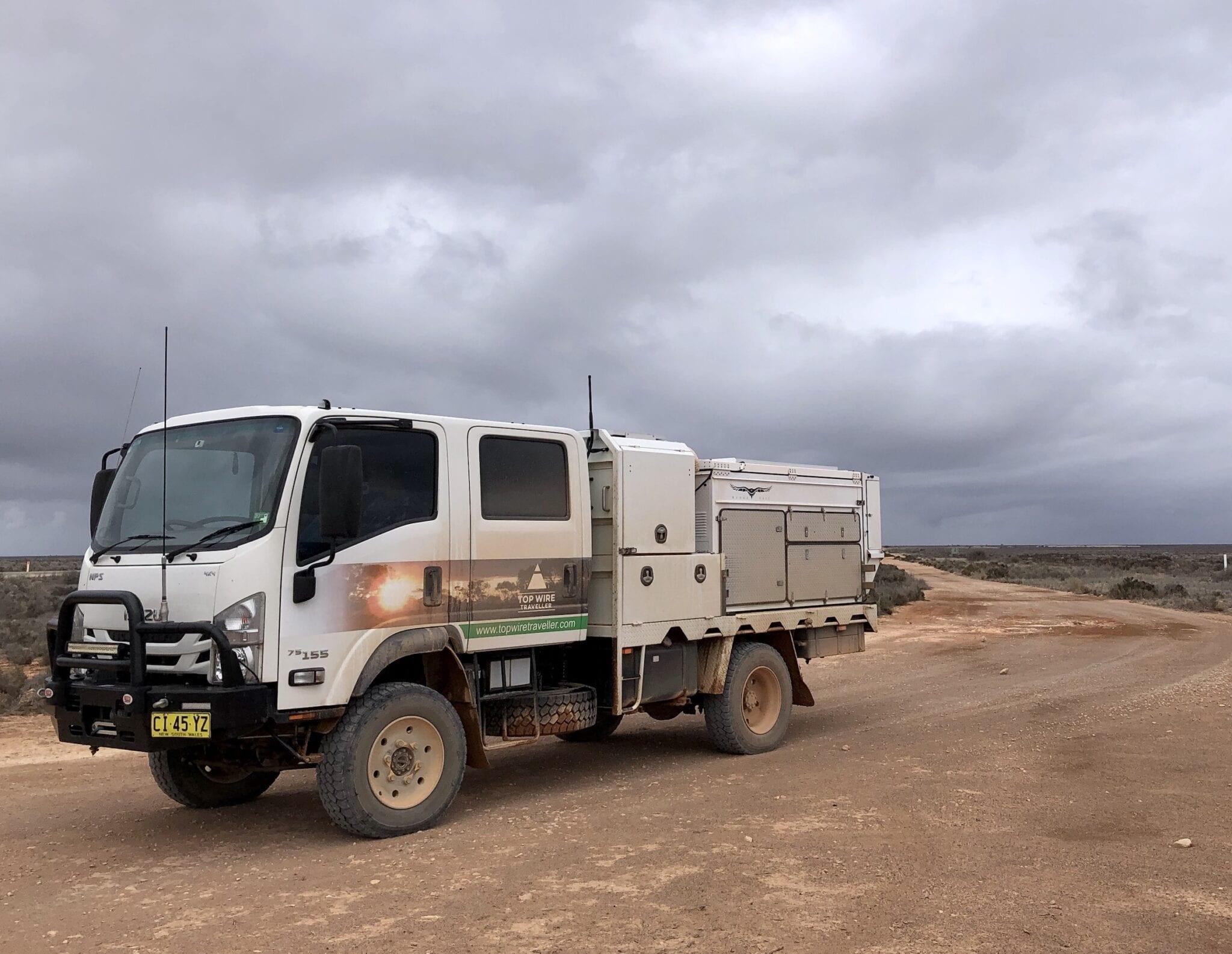 Isuzu 4x4 truck on the Old Eyre Highway, Nullarbor Plain South Australia.