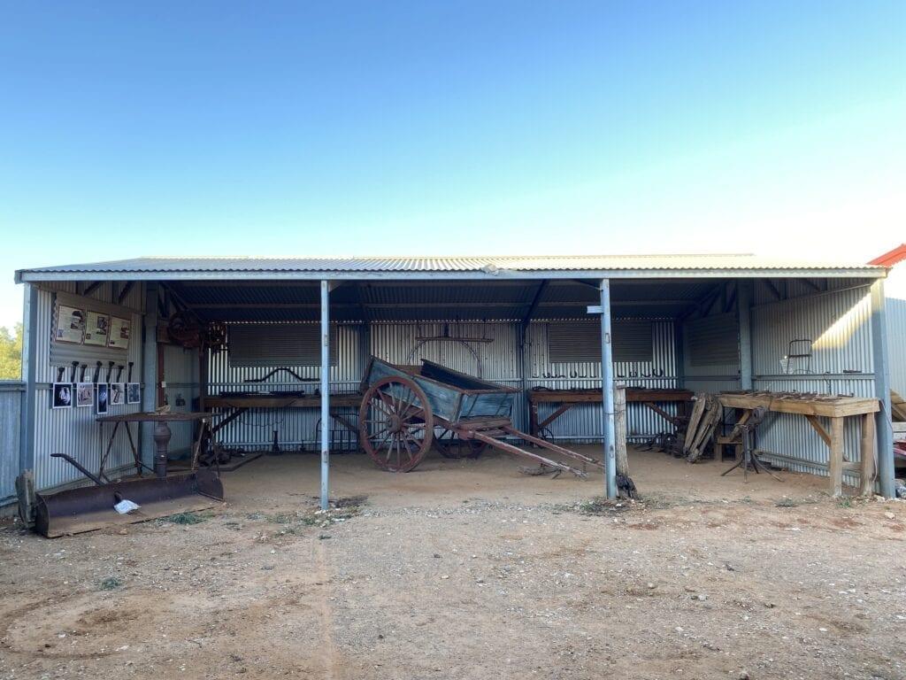 The farm display shed at Milparinka Heritage Precinct, NSW
