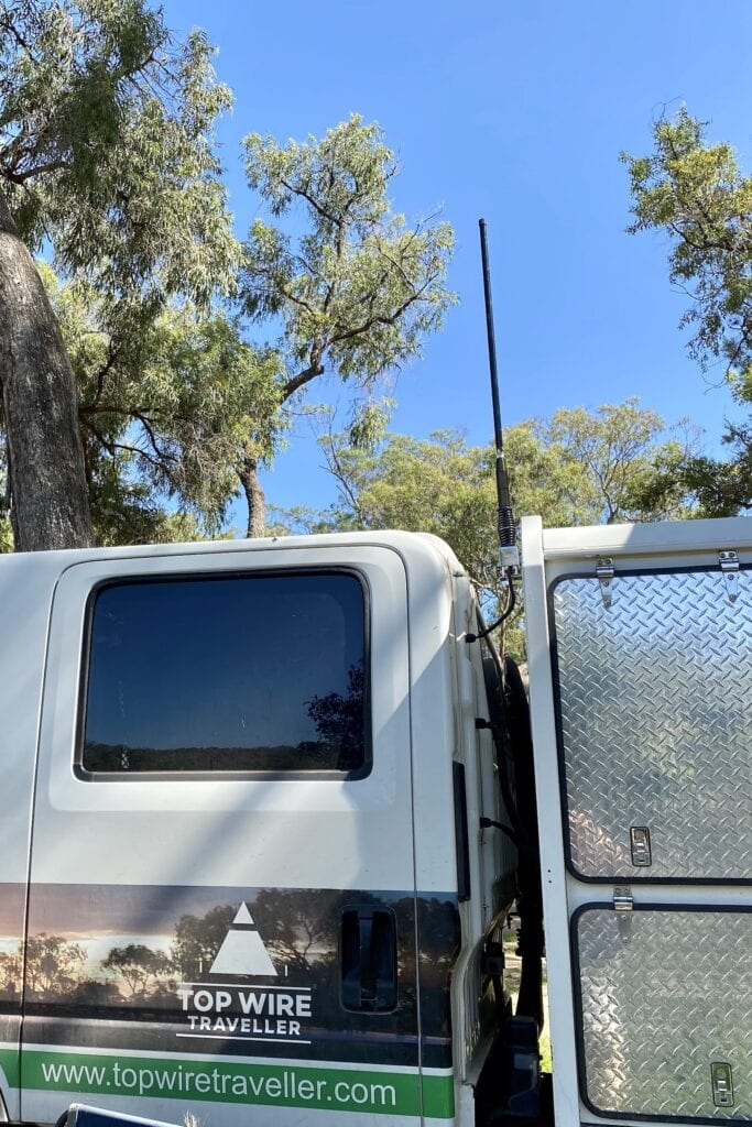 Our Cel-Fi Go antenna mounted on a folding bracket. Shown in the vertical position.