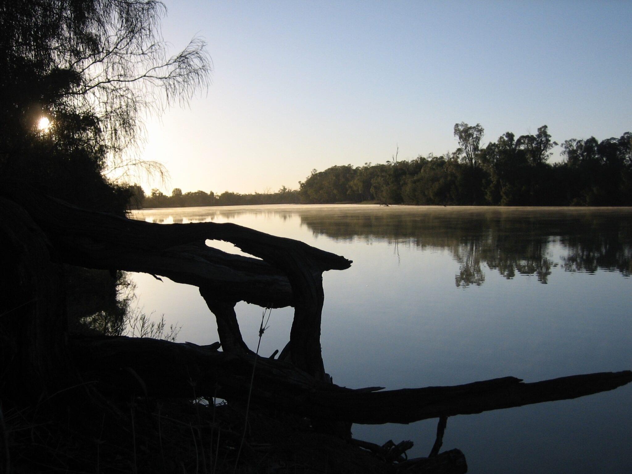 Sunrise on an Australian Outback river.