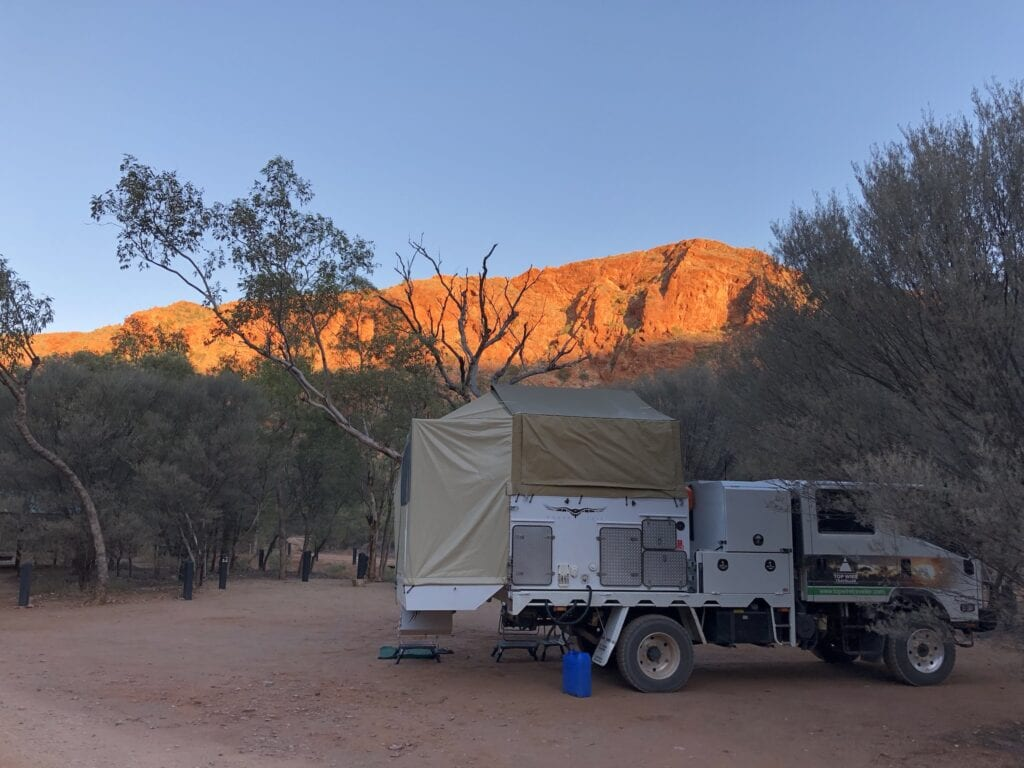 The deep red colours of the Red Centre of Australia at sunset.