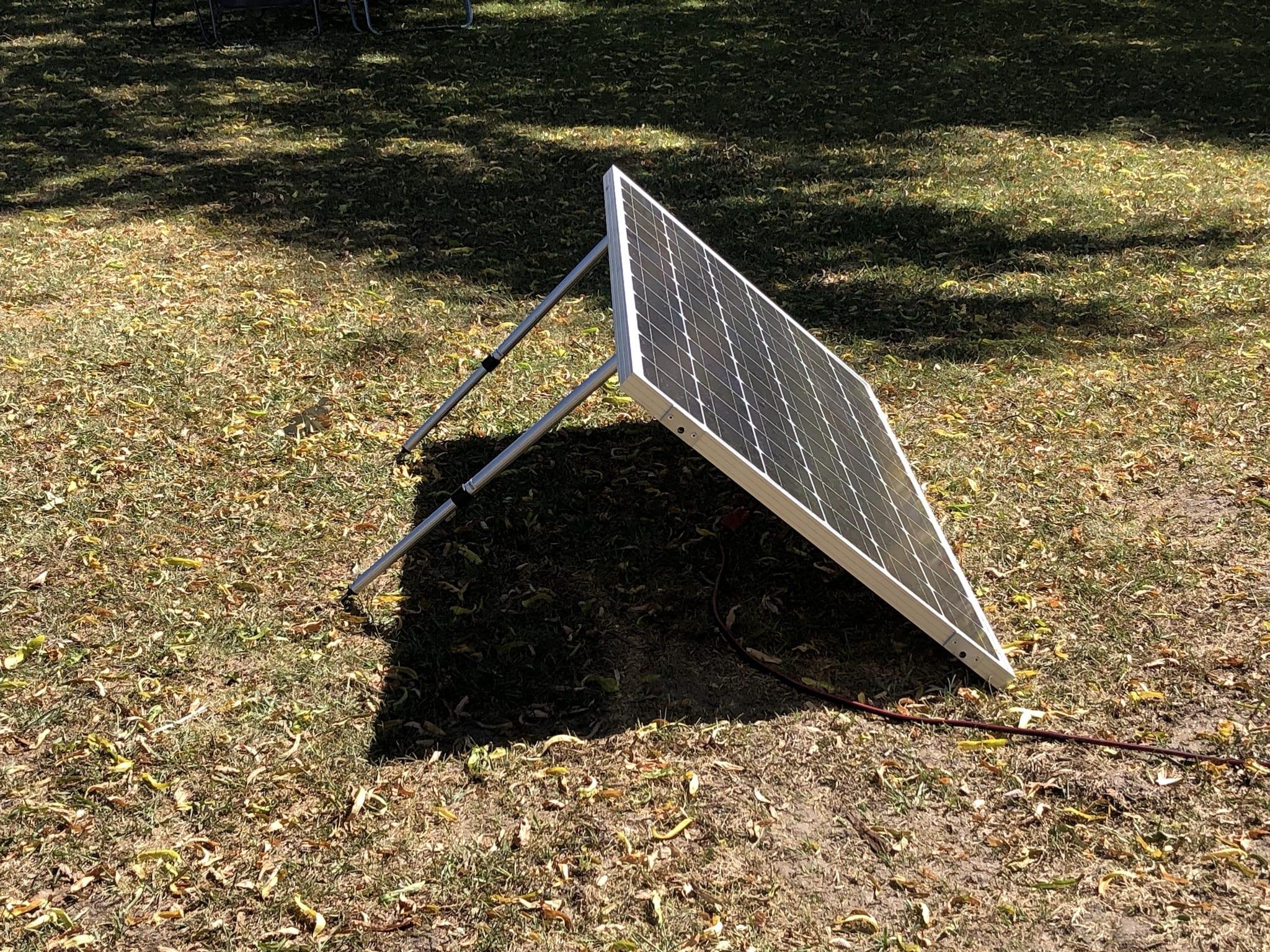 A portable solar panel facing the sun.