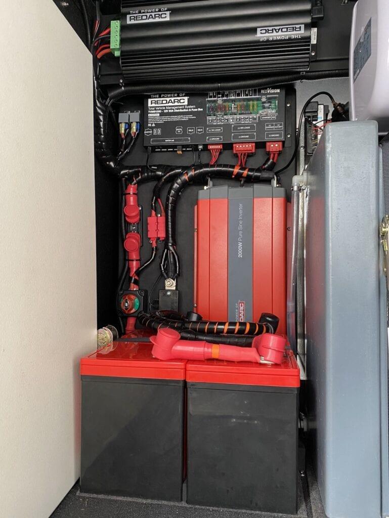 REDARC Electronics gear installed in a Wedgetail Hawk tray-back camper.
