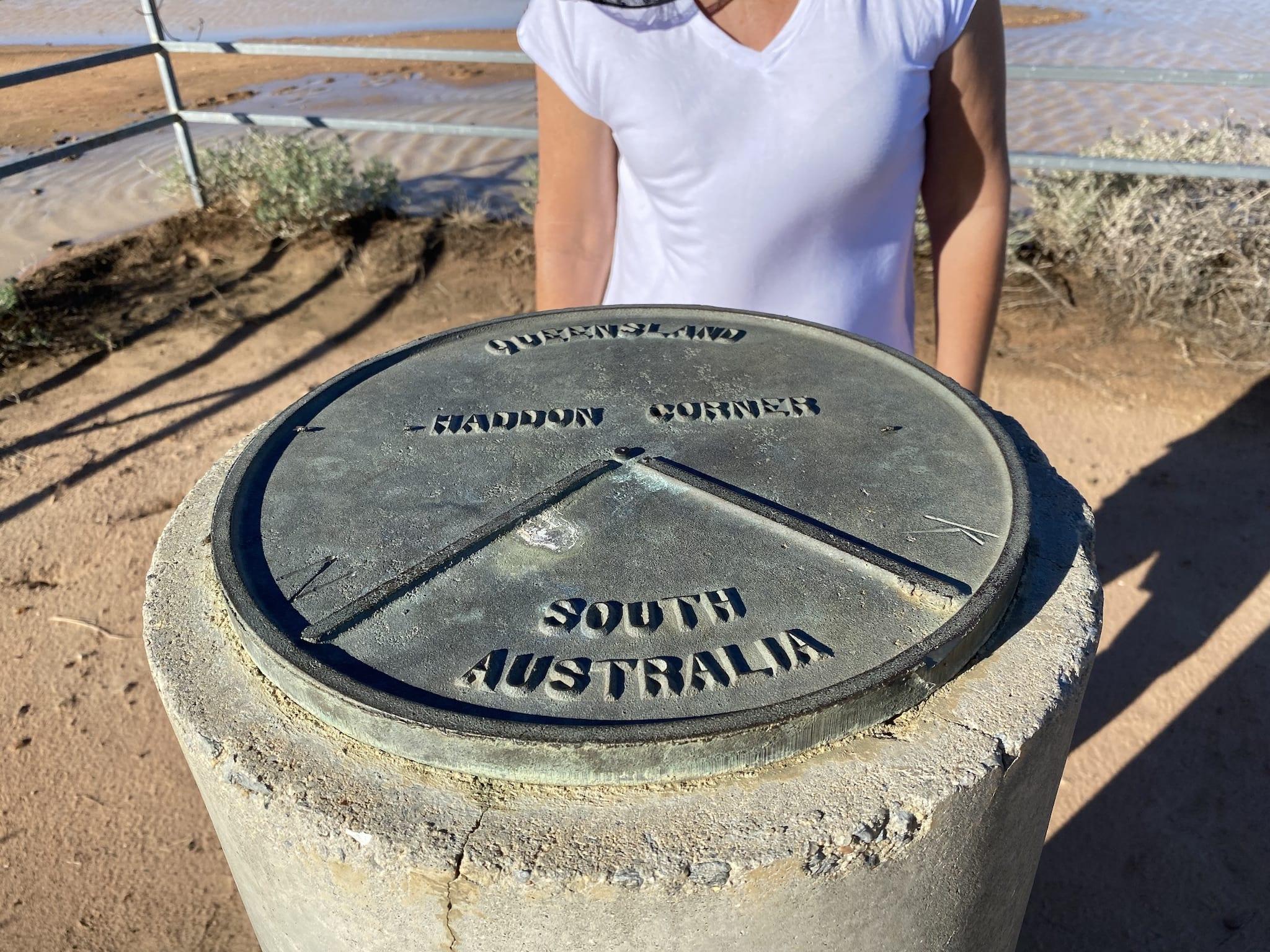 The Haddon Corner marker on the South Australian/Queensland border.
