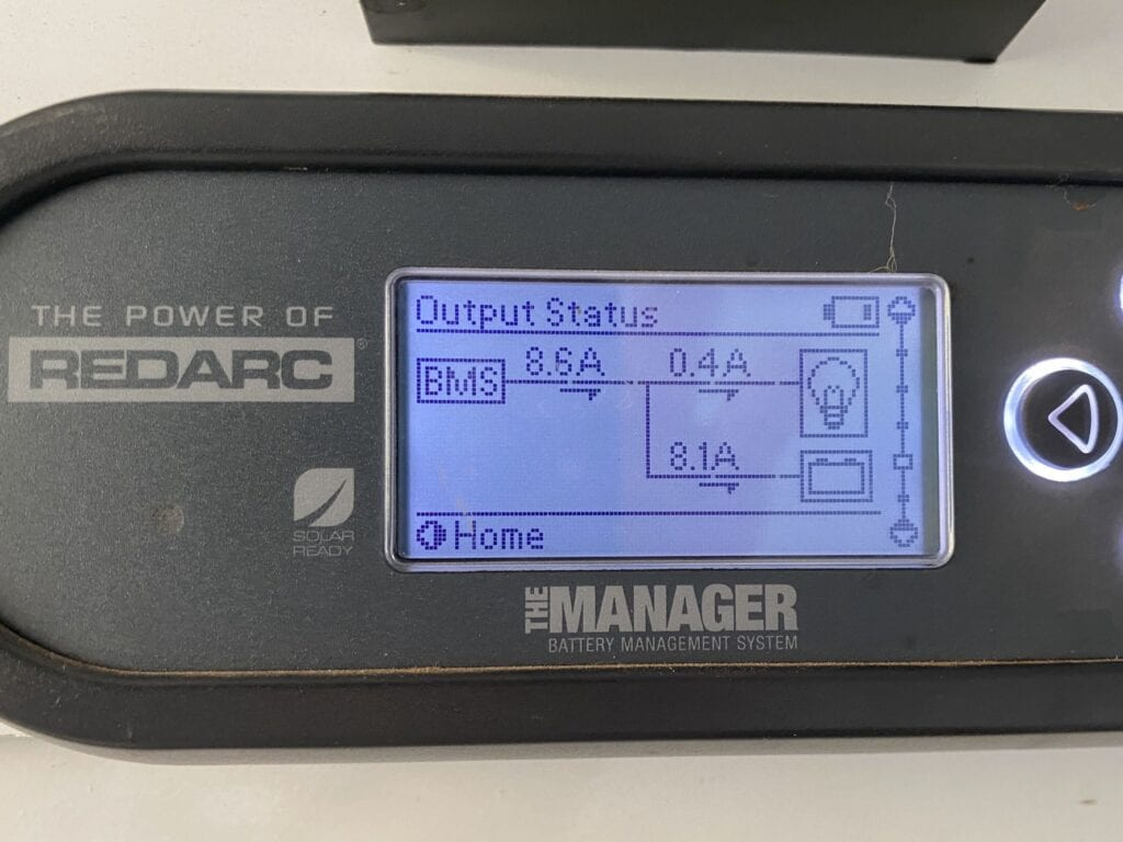 REDARC battery monitor showing input current from a 112W amorphous solar blanket.