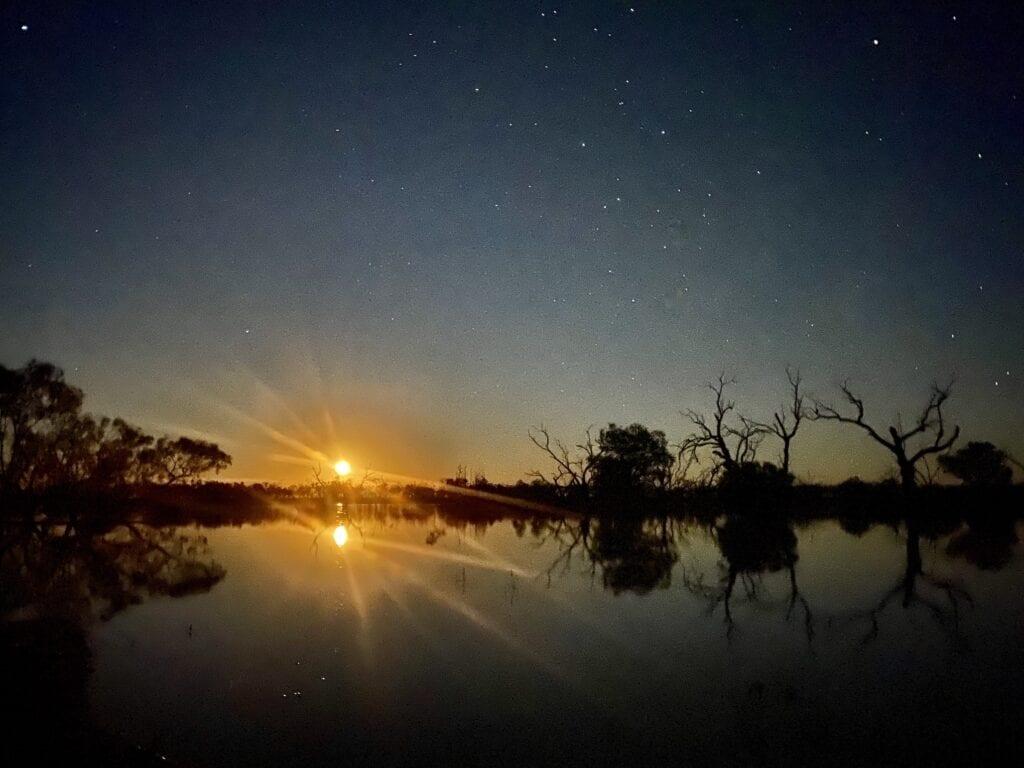 Full moon rising over Lake Pinaroo, Sturt National Park NSW.